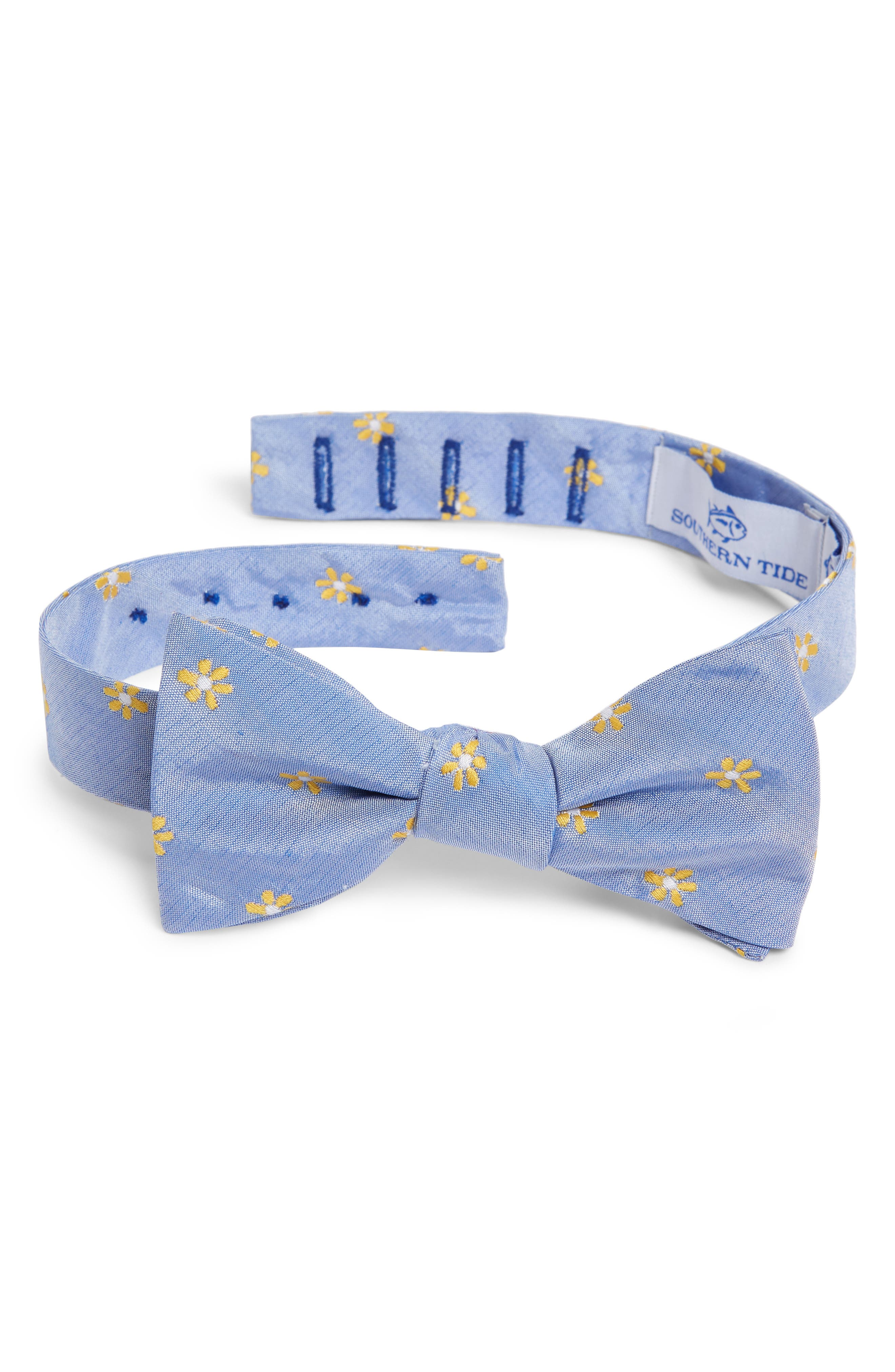 Cumberland Floral Cotton & Silk Bow Tie,                         Main,                         color, YELLOW/ BLUE