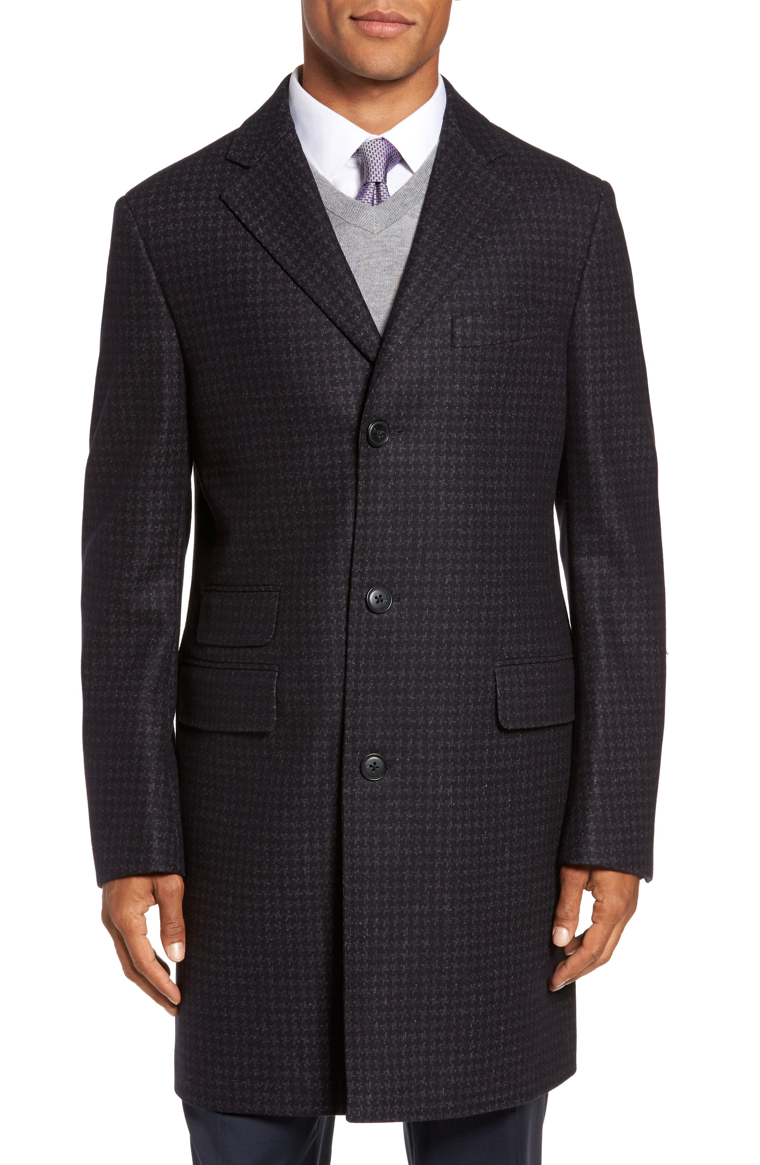 Jackson Houndstooth Wool Blend Overcoat,                             Alternate thumbnail 4, color,