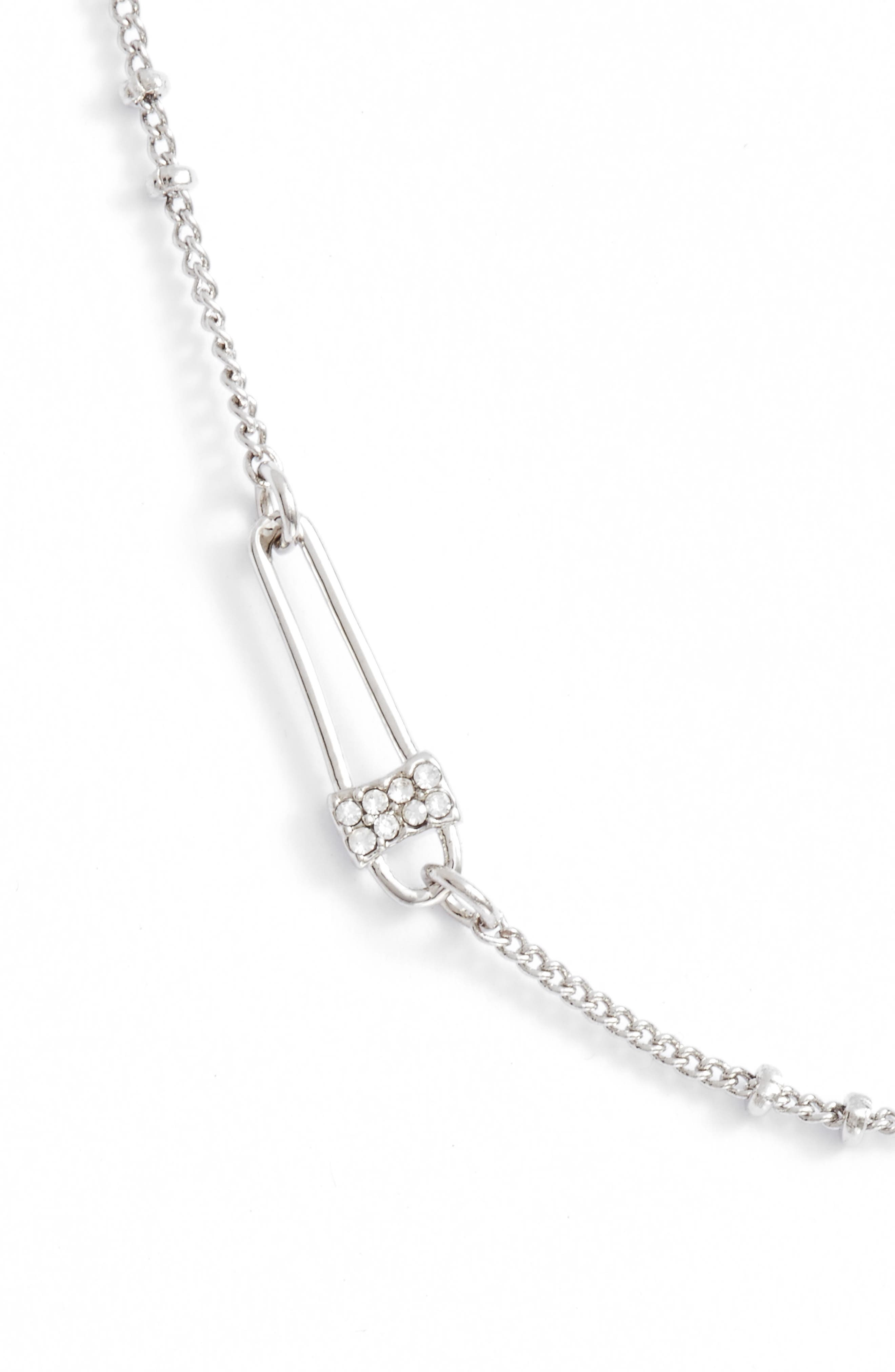 Pave Safety Pin Necklace,                         Main,                         color, 040