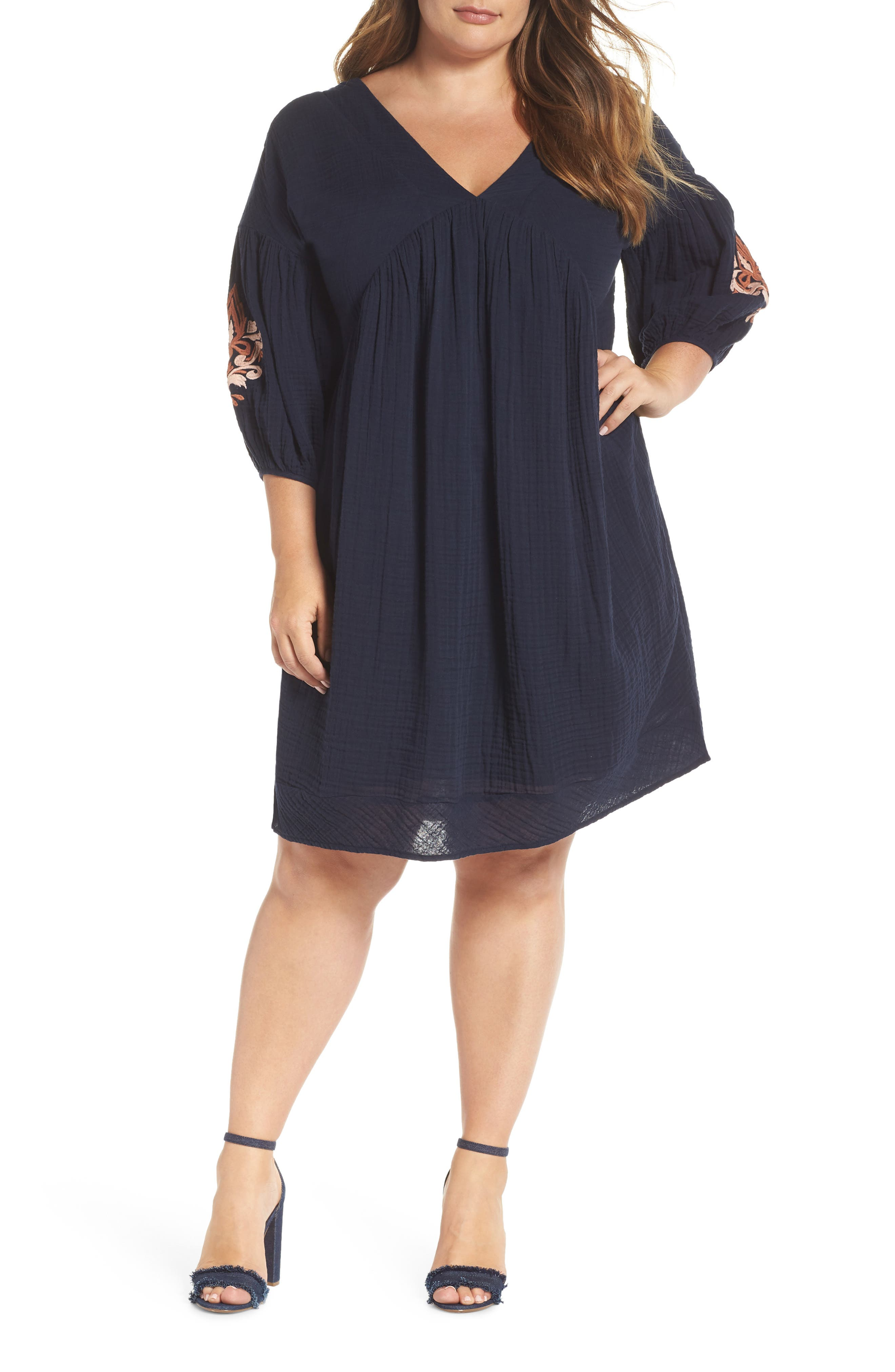 Embroidered Puff Sleeve Dress,                         Main,                         color, NAVY ELLERY EMB