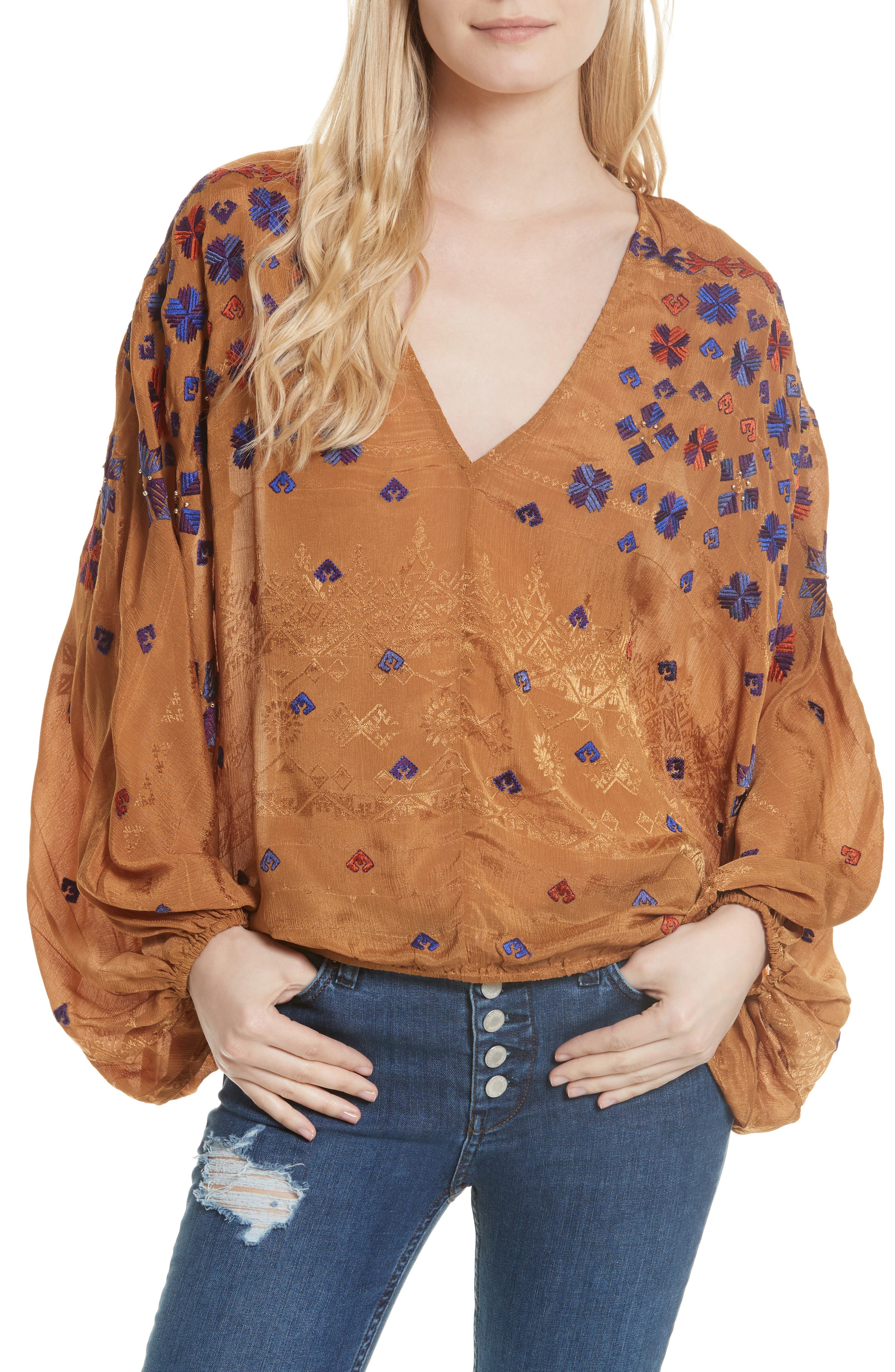 Music in Time Embroidered Top,                         Main,                         color, 200