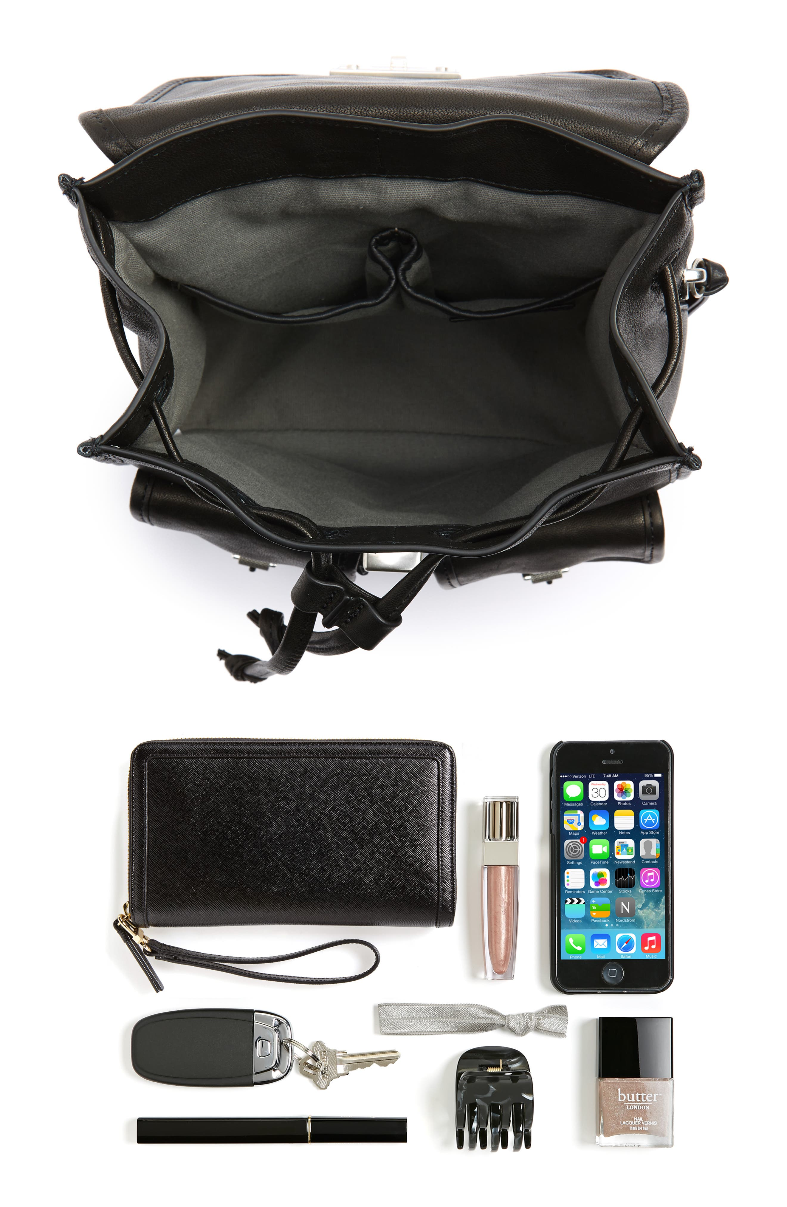 Small Leather Field Backpack,                             Alternate thumbnail 7, color,                             BLACK