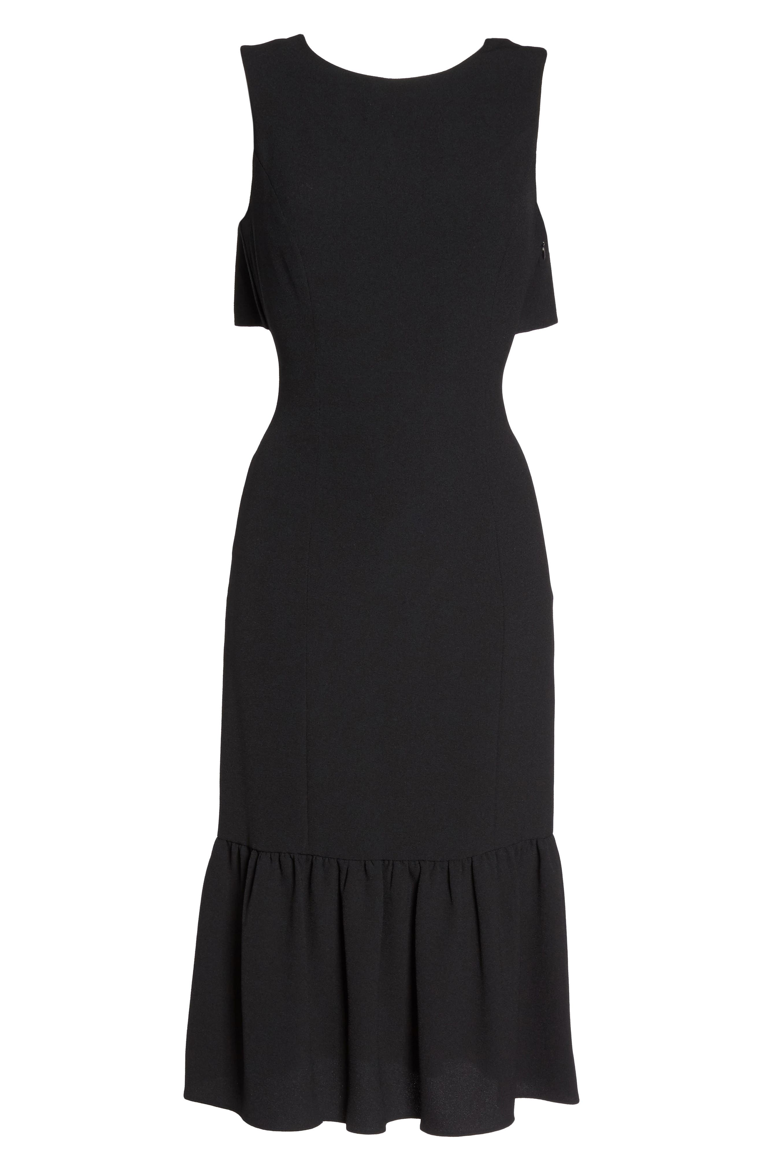 Ruffle Back Crepe Sheath Dress,                             Alternate thumbnail 6, color,                             002