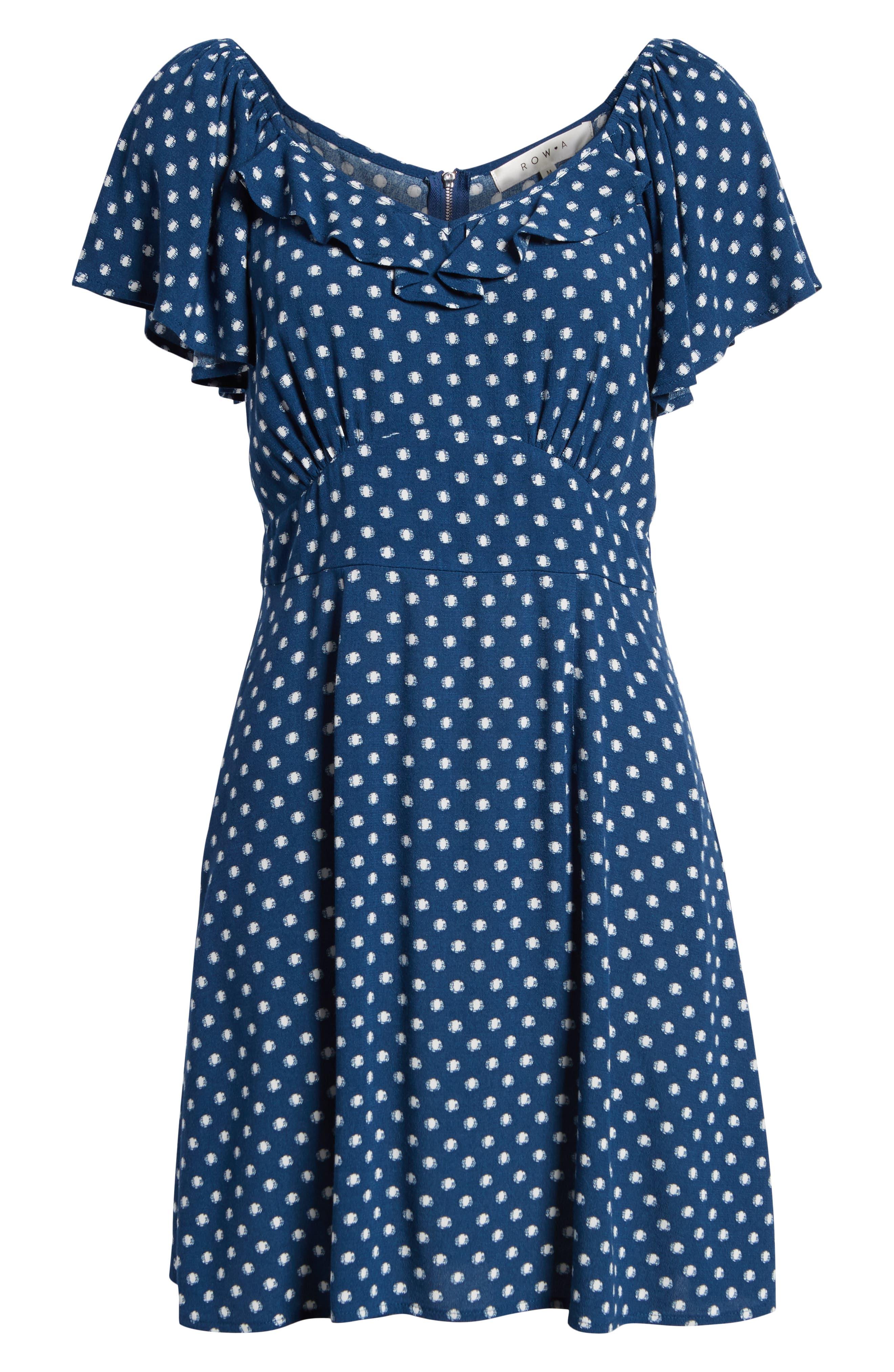 Flutter Sleeve A-Line Dress,                             Alternate thumbnail 7, color,                             BLUE DOT
