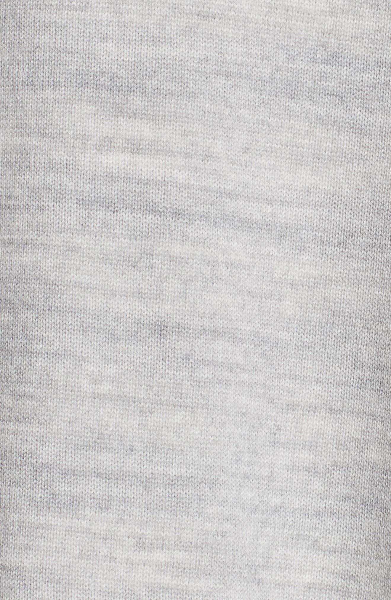 Knit Reversible Poncho,                             Alternate thumbnail 7, color,                             MID GREY MELANGE/ CREAM