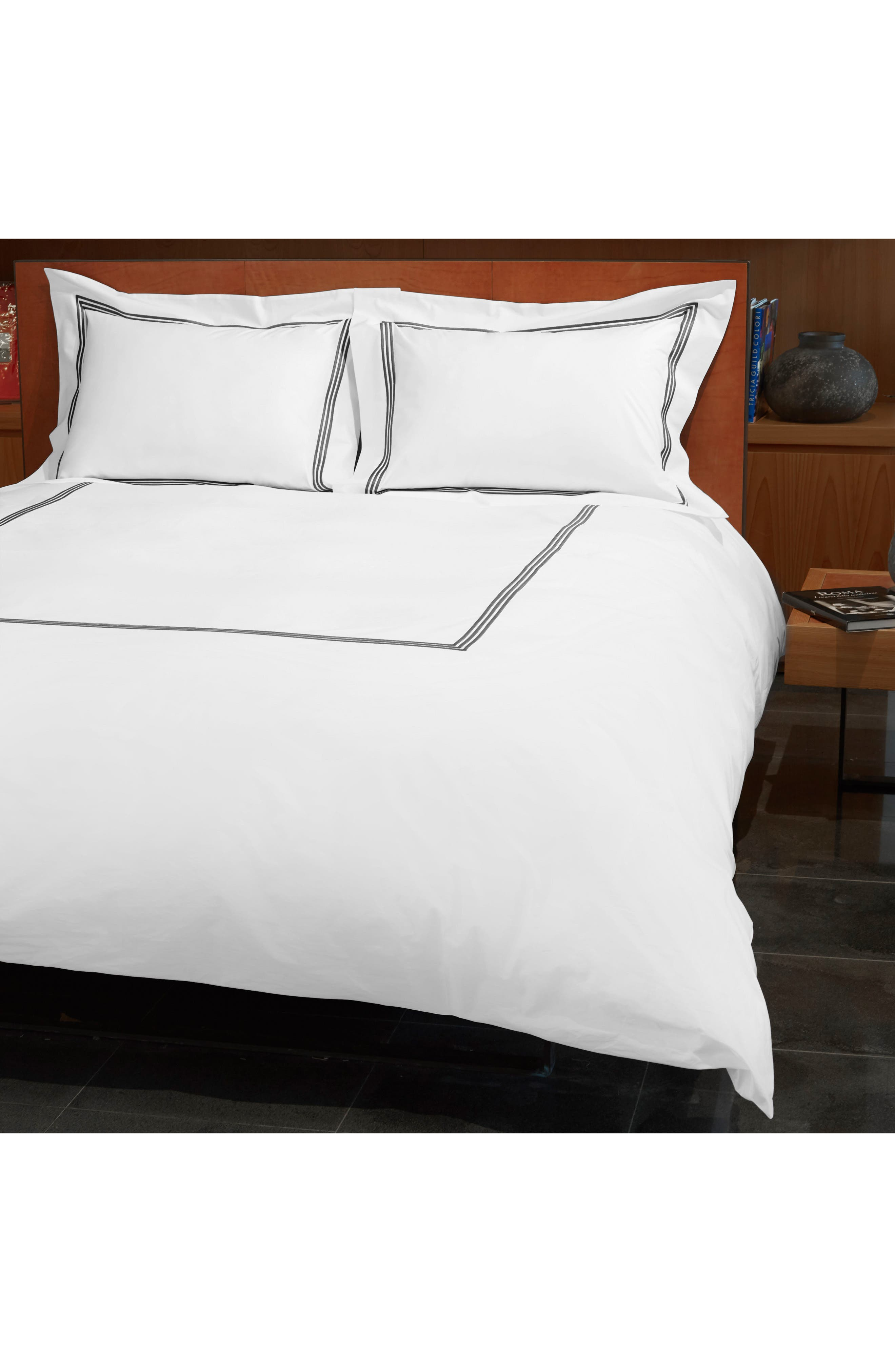 Signoria Firenze Platinum 400 Thread Count Duvet Cover,                             Main thumbnail 1, color,                             LEAD GREY