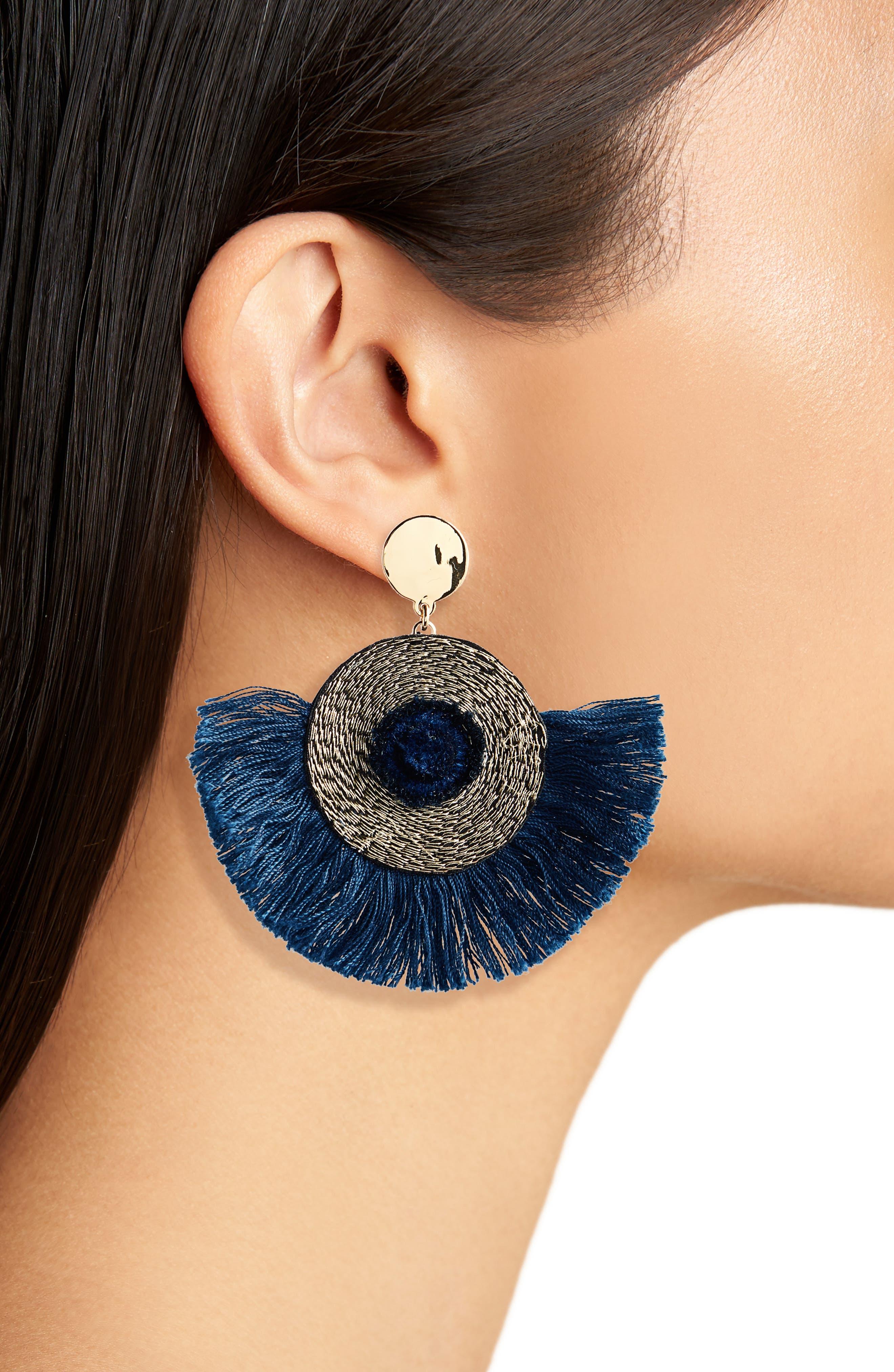 Fan Statement Earrings,                             Alternate thumbnail 2, color,                             UNION BLUE