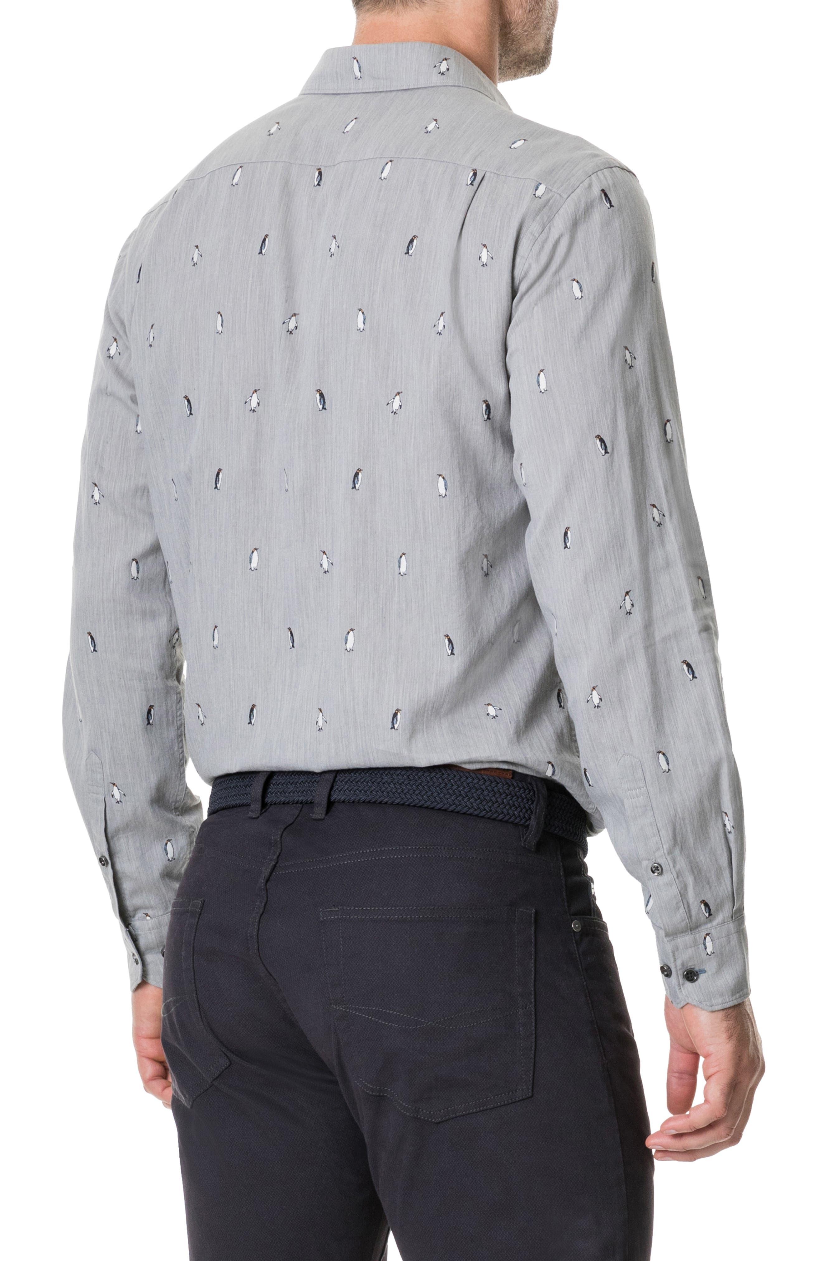 Hillersden Regular Fit Penguin Sport Shirt,                             Alternate thumbnail 3, color,                             PEBBLE