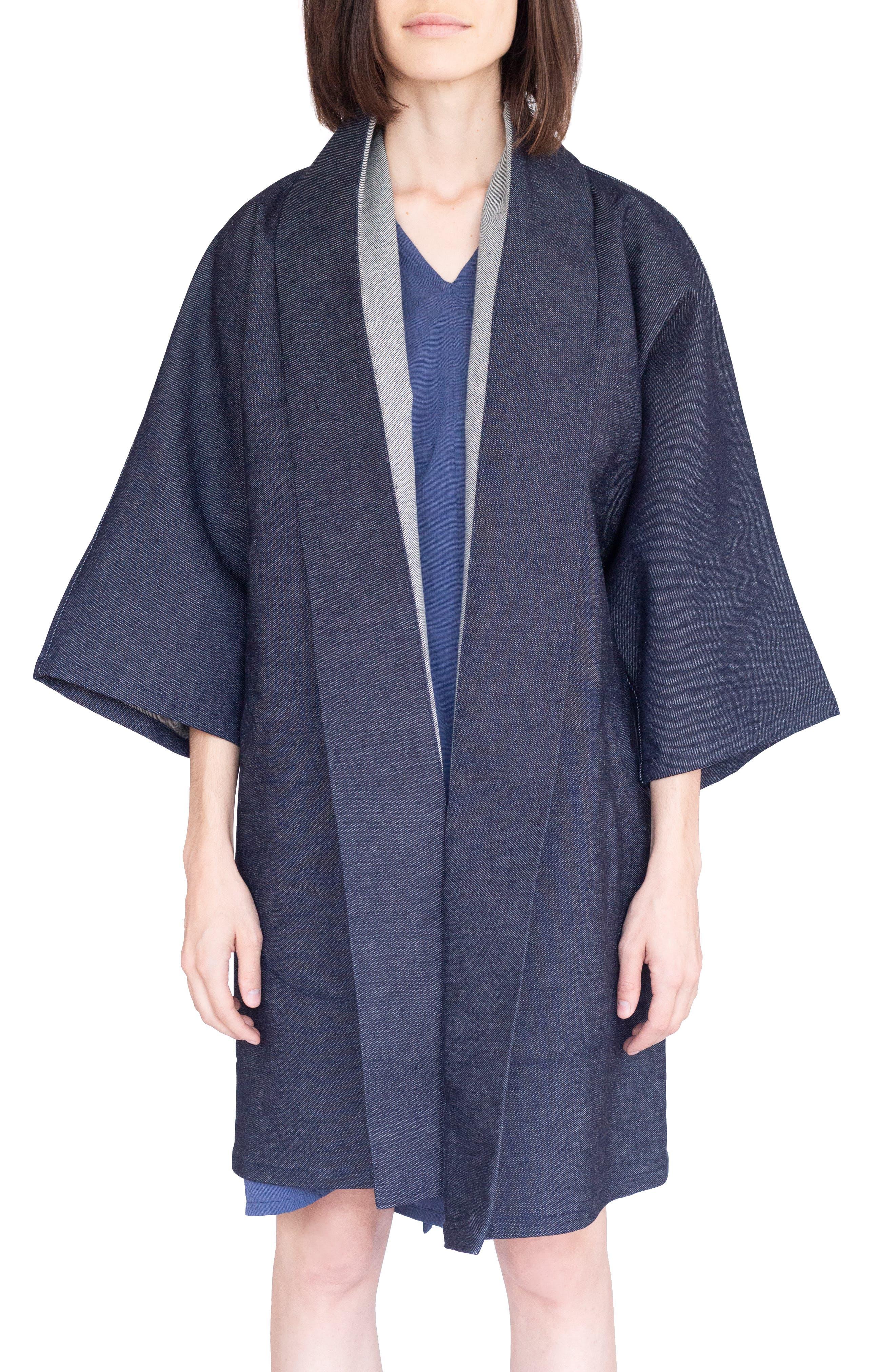 Vintage Coats & Jackets | Retro Coats and Jackets Womens Simple By Trista Oversized Denim Kimono Coat Size LargeX-Large - Blue $258.00 AT vintagedancer.com