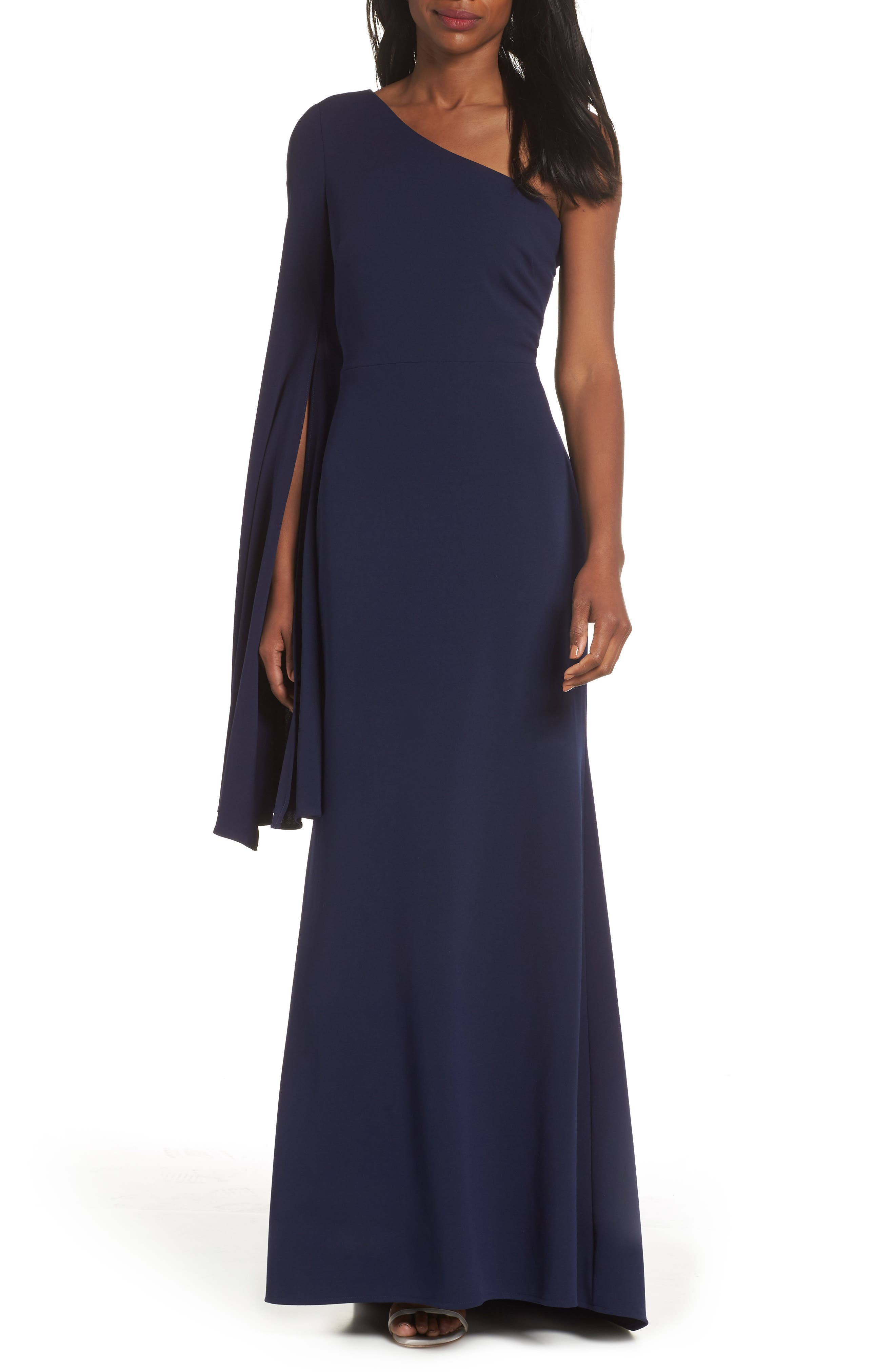 One-Shoulder Gown,                             Main thumbnail 1, color,                             NAVY