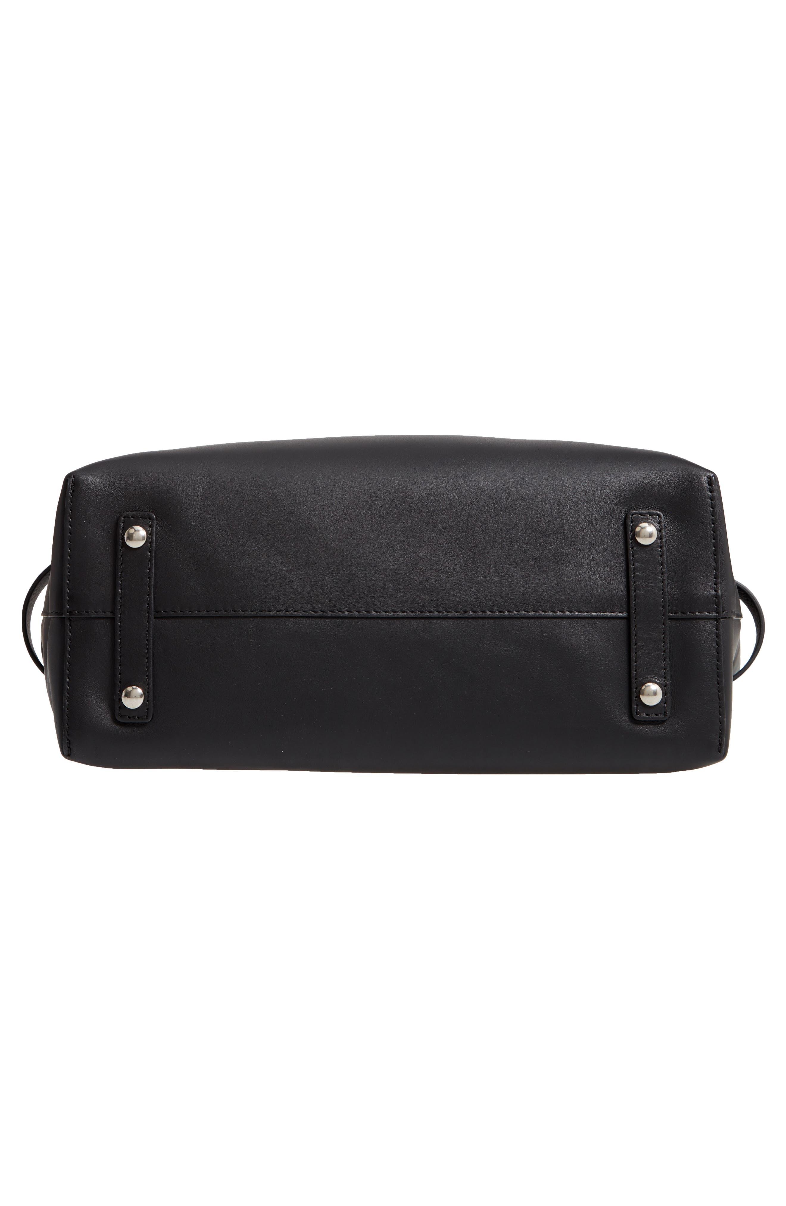 Medium Belt Bag Leather Tote,                             Alternate thumbnail 6, color,                             BLACK