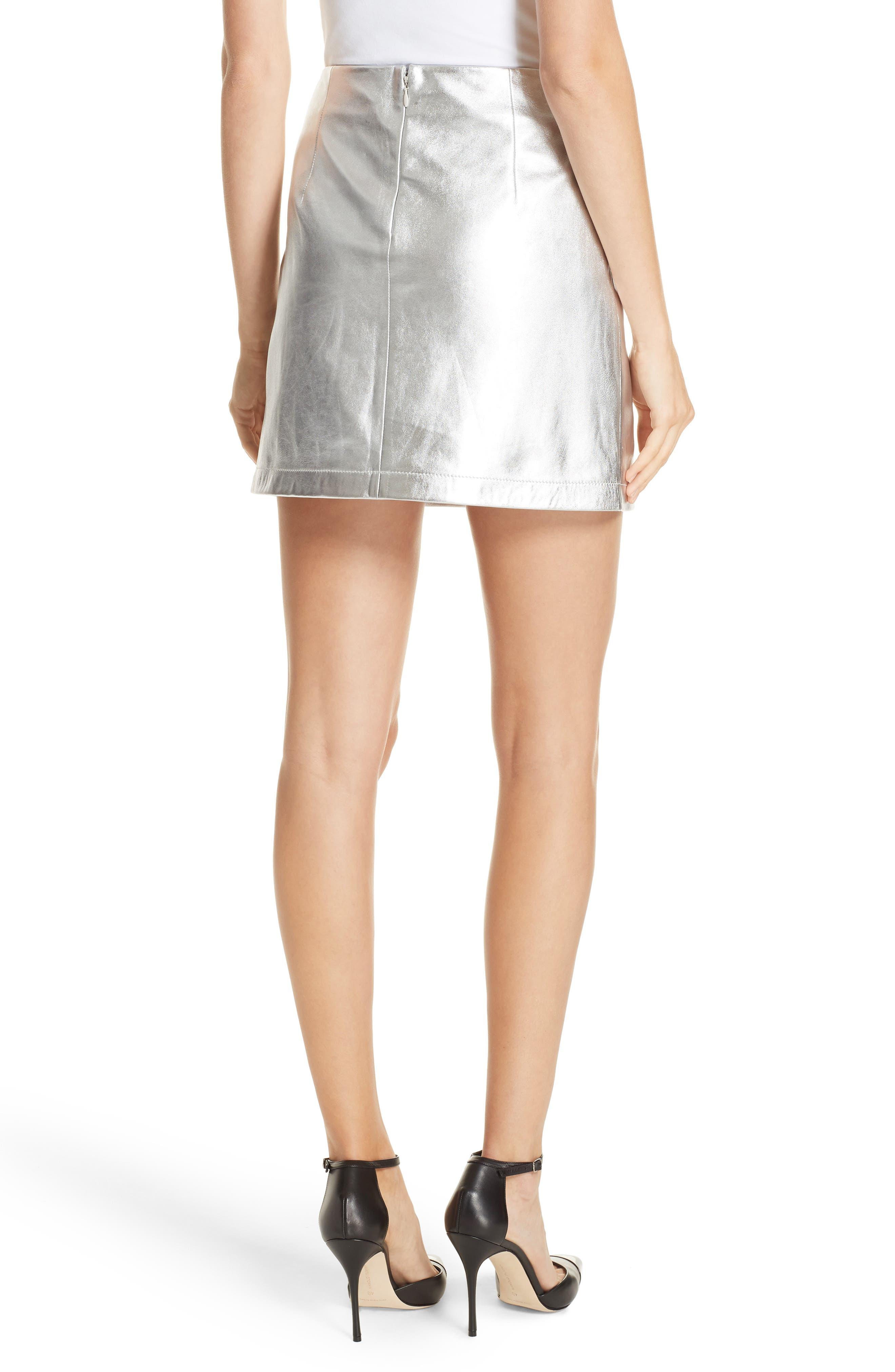 Metallic Leather Miniskirt,                             Alternate thumbnail 2, color,                             040