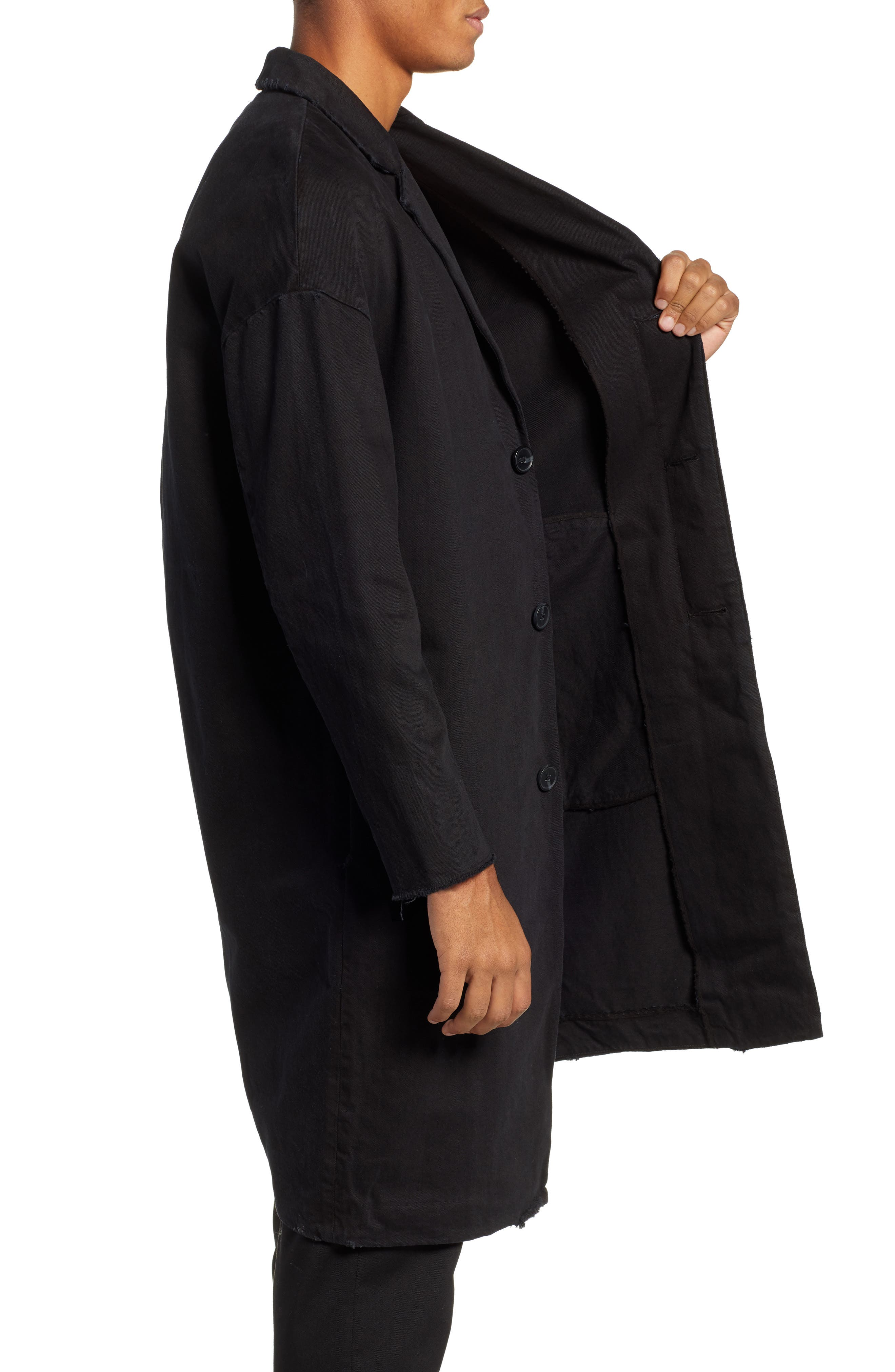 Relaxed Fit Long Denim Coat,                             Alternate thumbnail 3, color,                             BLACK INDIGO