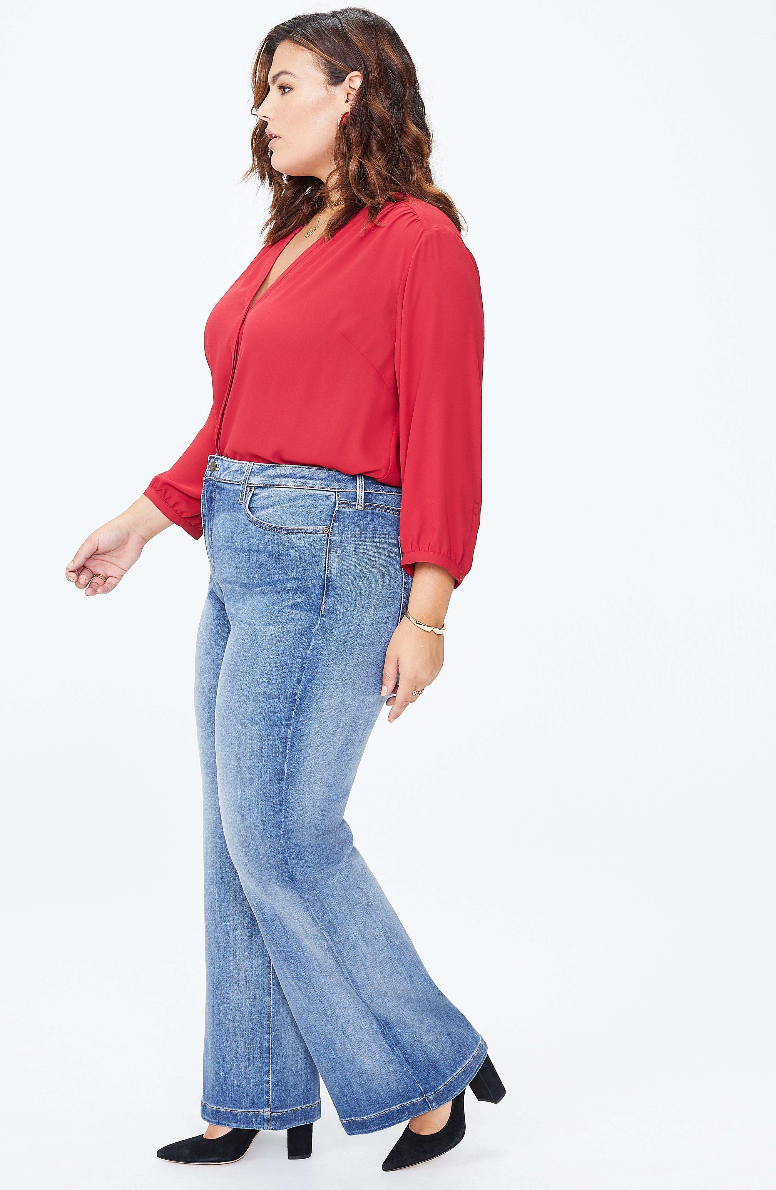 Wide Leg Jeans,                             Alternate thumbnail 4, color,                             CLEAN CABRILLO