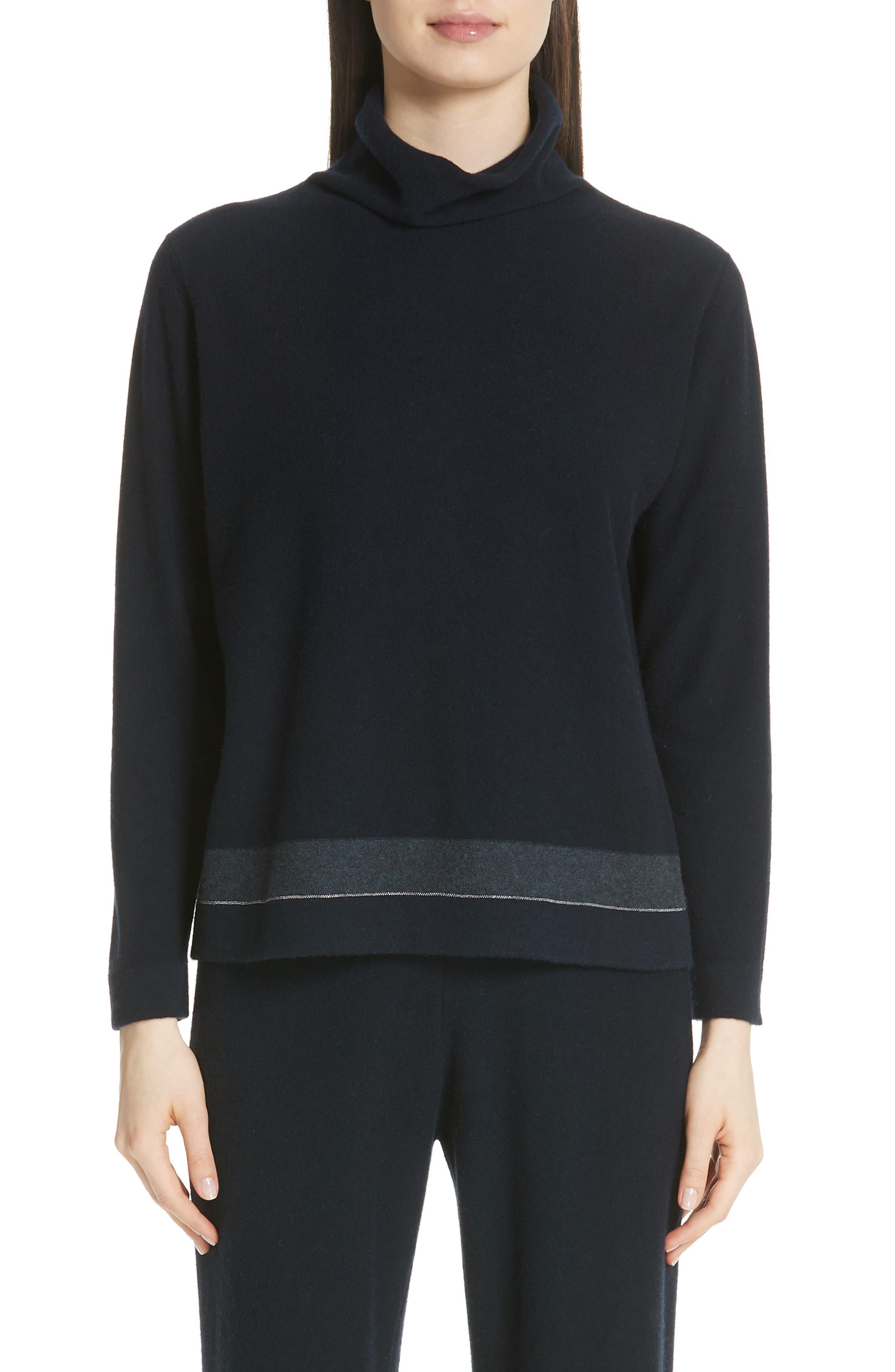 Bead Detail Cashmere Turtleneck Sweater,                         Main,                         color, NIGHT BLUE