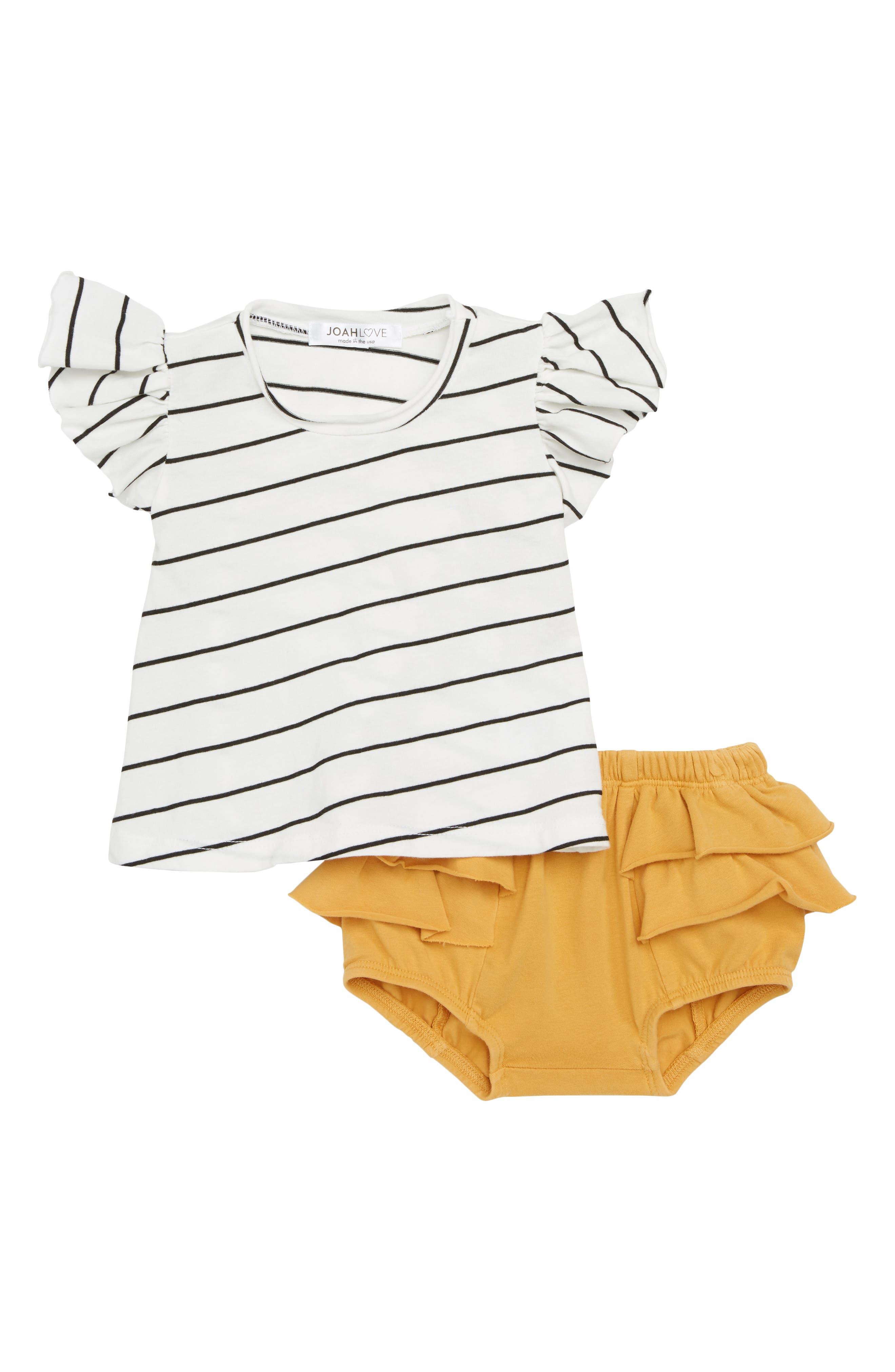Stripe Tee & Ruffled Shorts Set,                             Main thumbnail 1, color,                             100