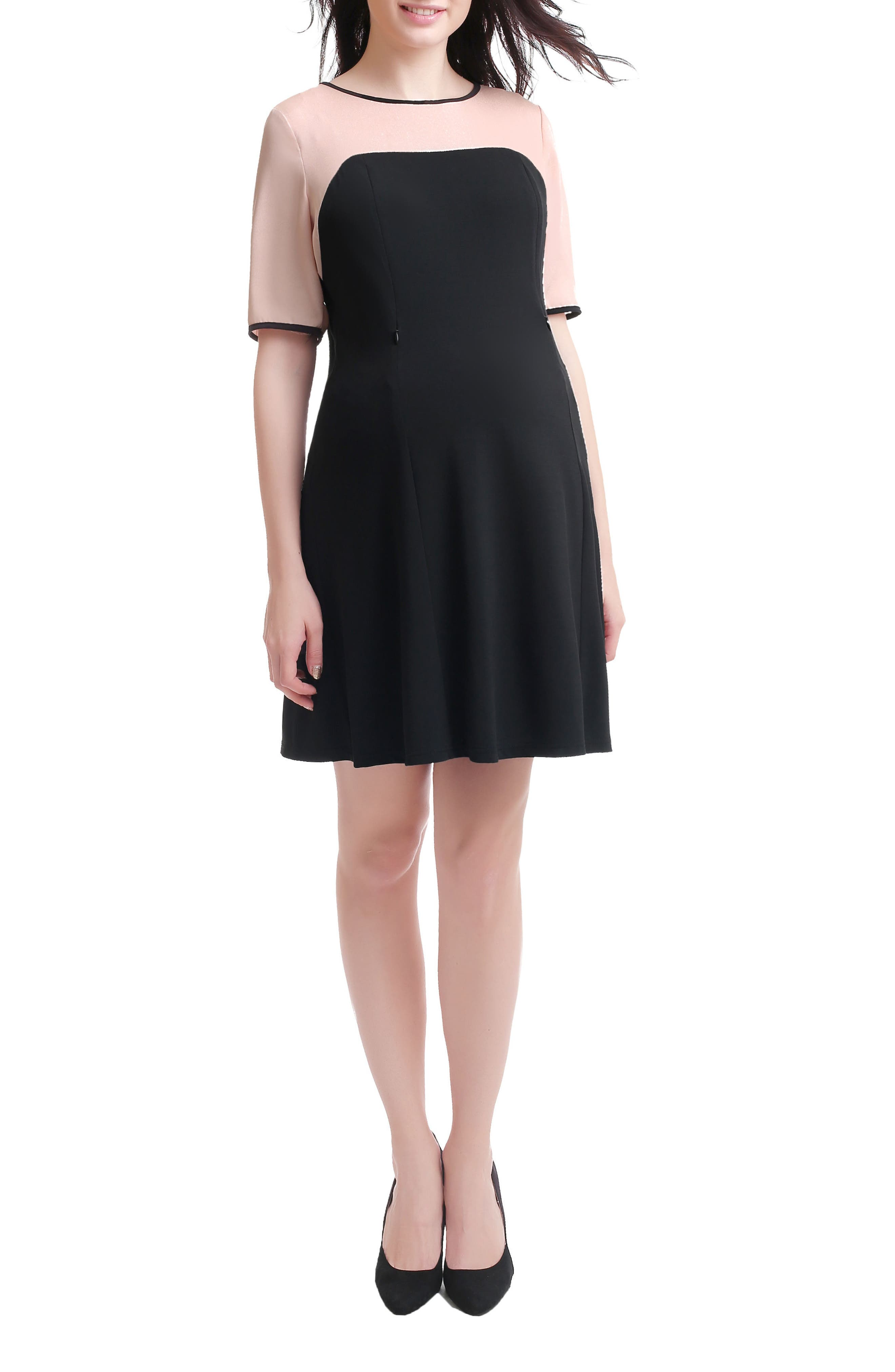 Kimi & Kai Maggie Maternity/Nursing Shift Dress,                             Main thumbnail 1, color,                             BLACK/ BLUSH