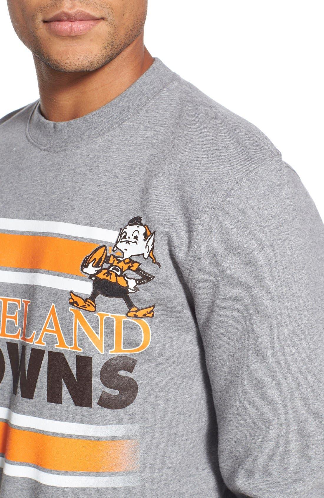 MITCHELL & NESS,                             Mitchell &Ness'Cleveland Browns' Tailored Fleece Crewneck Sweatshirt,                             Alternate thumbnail 5, color,                             061
