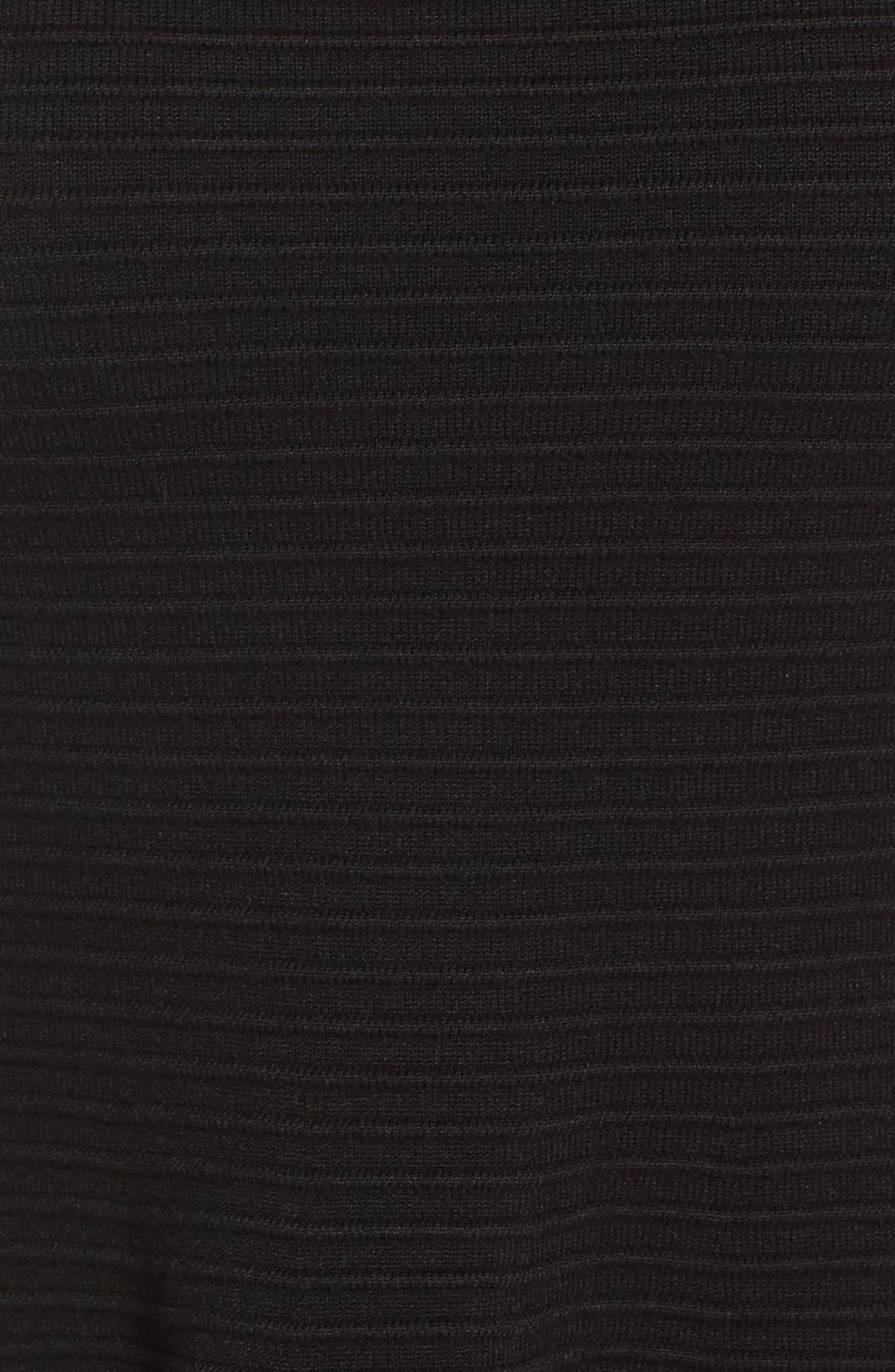 Mesh Fit & Flare Dress,                             Alternate thumbnail 6, color,                             BLACK