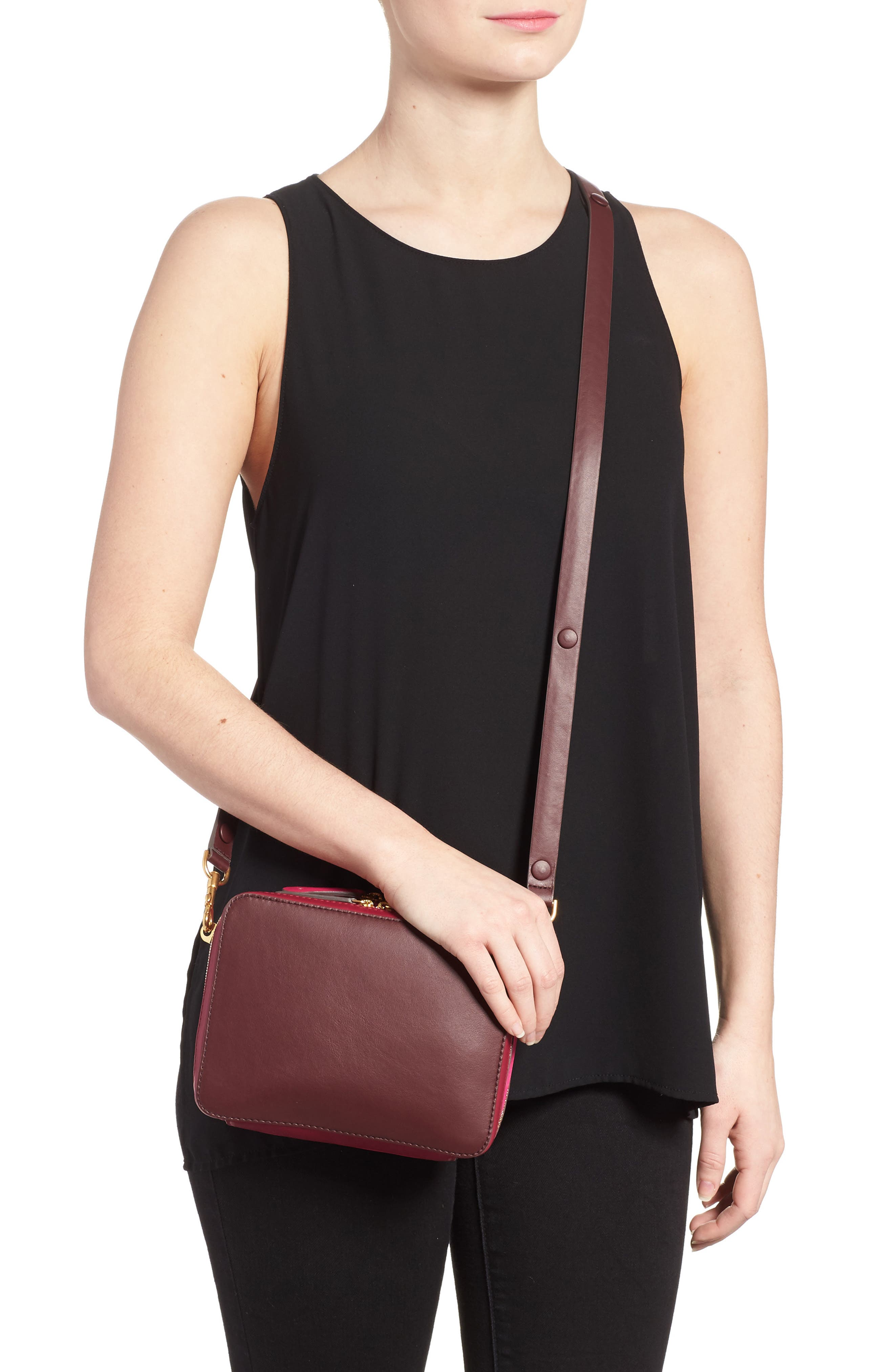 The Stack Leather Crossbody Bag,                             Alternate thumbnail 4, color,