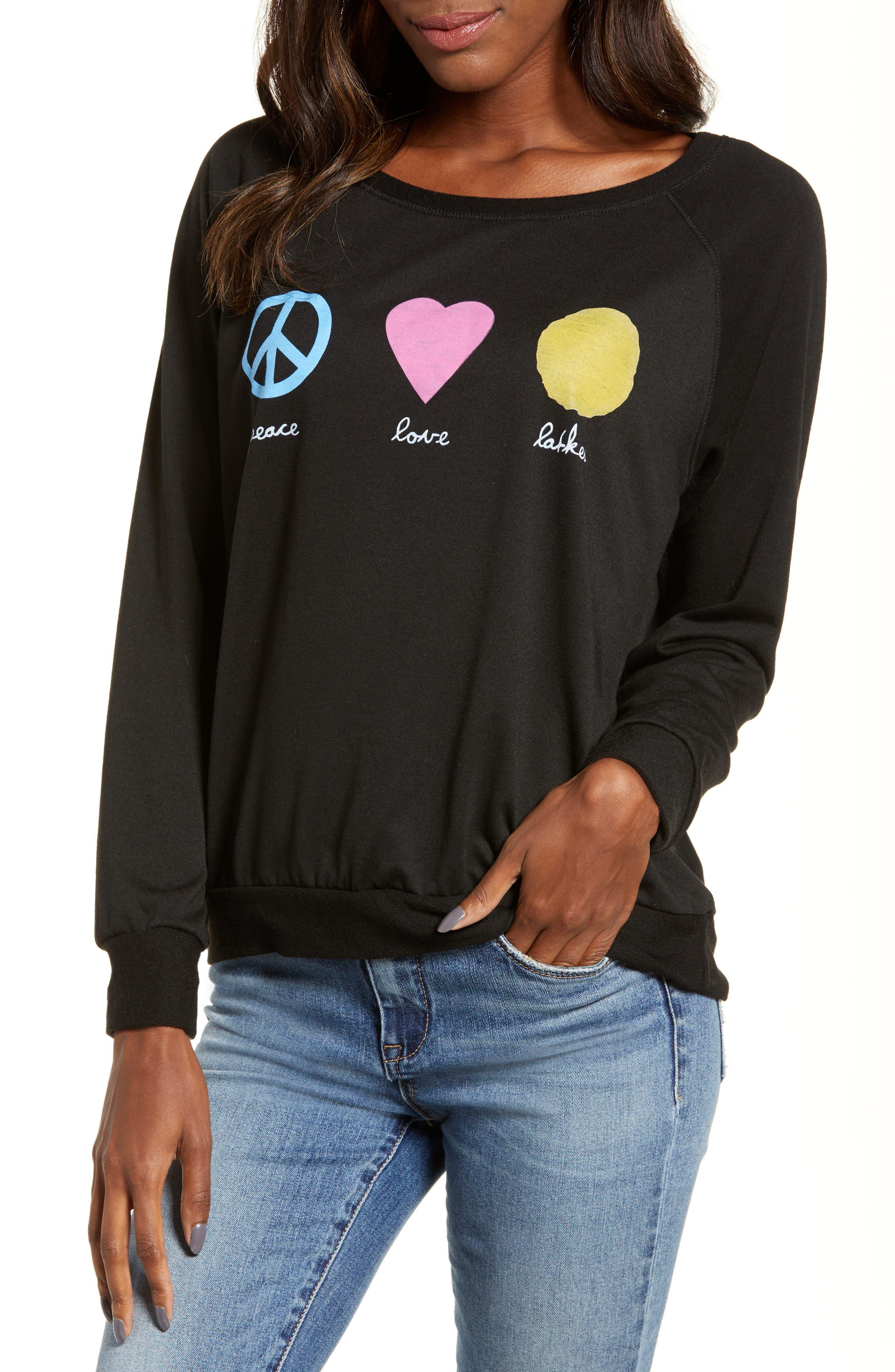 Peace Love Latkes Pullover,                         Main,                         color, BLACK