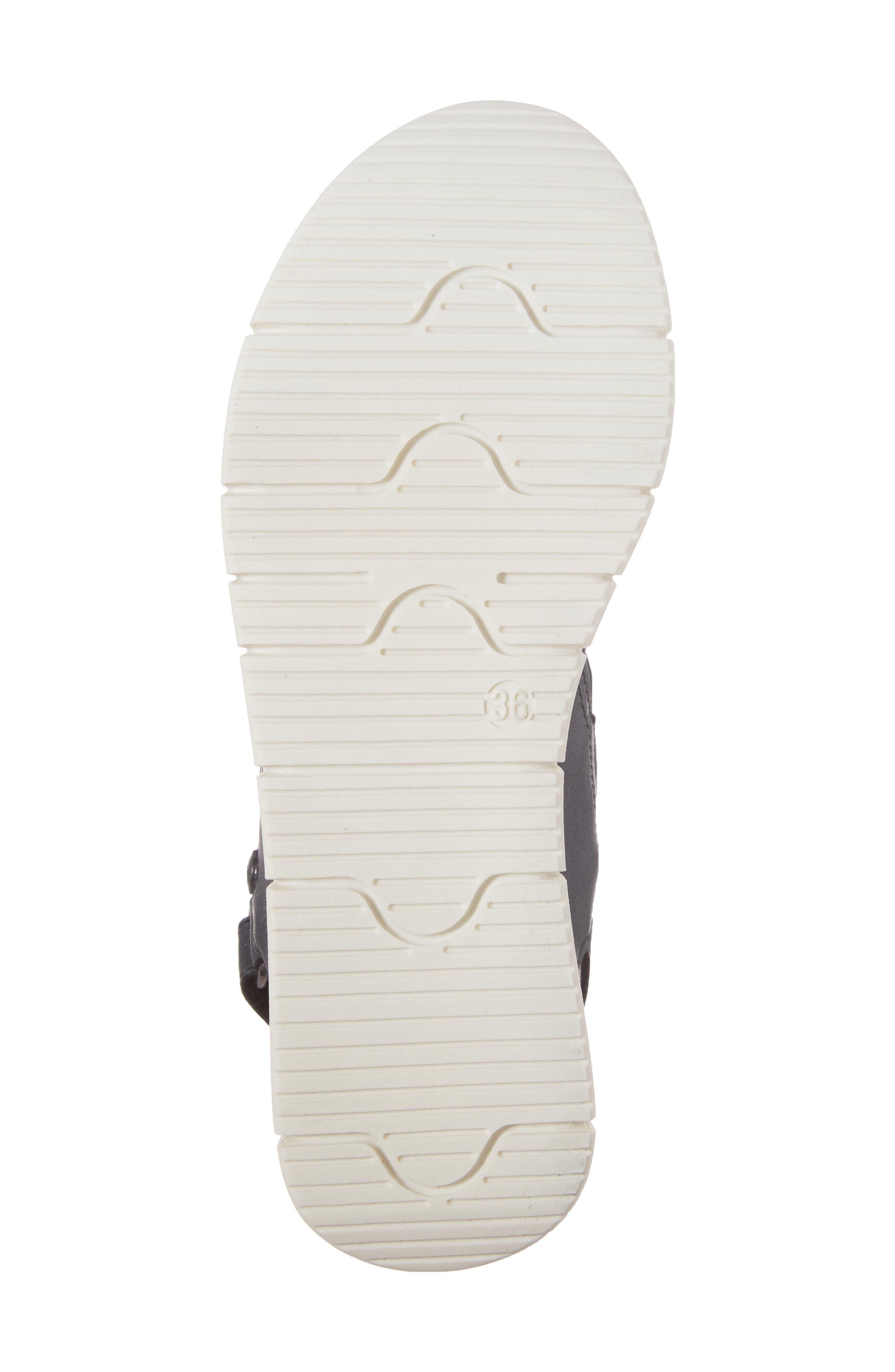 Payge Wedge Sandal,                             Alternate thumbnail 6, color,                             BLACK LEATHER