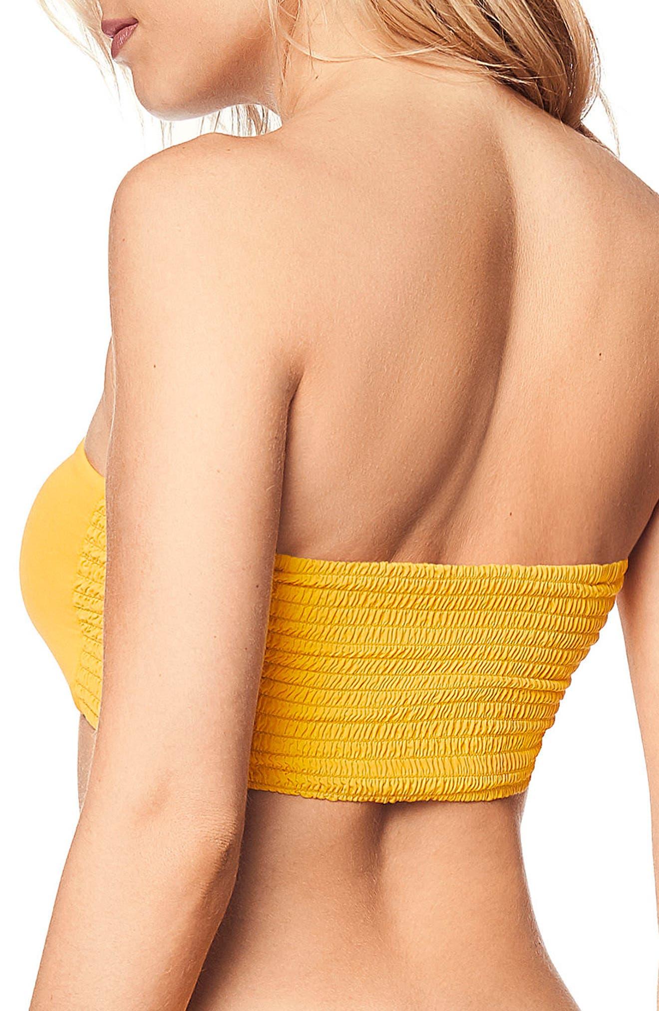 Reversible Bandeau Bikini Top,                             Alternate thumbnail 3, color,                             YELLOW