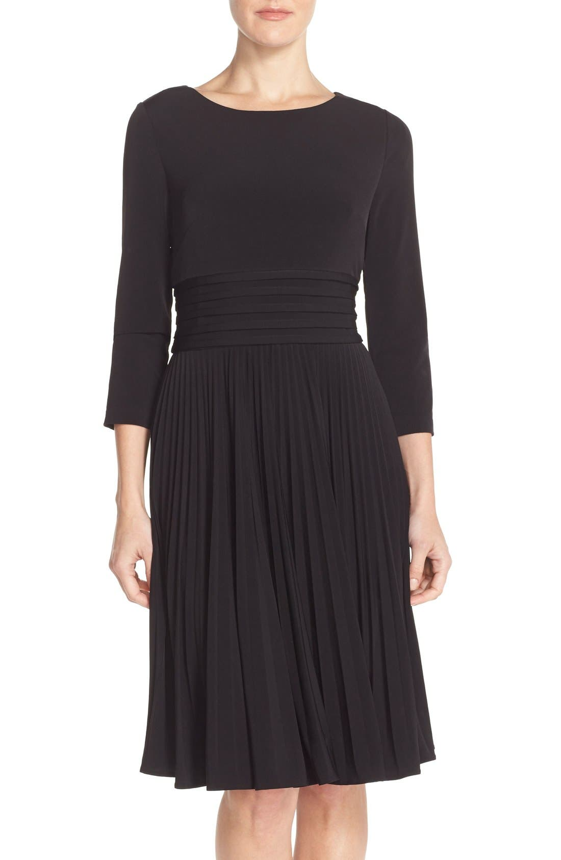 Pleated Jersey Fit & Flare Dress,                             Main thumbnail 1, color,                             001