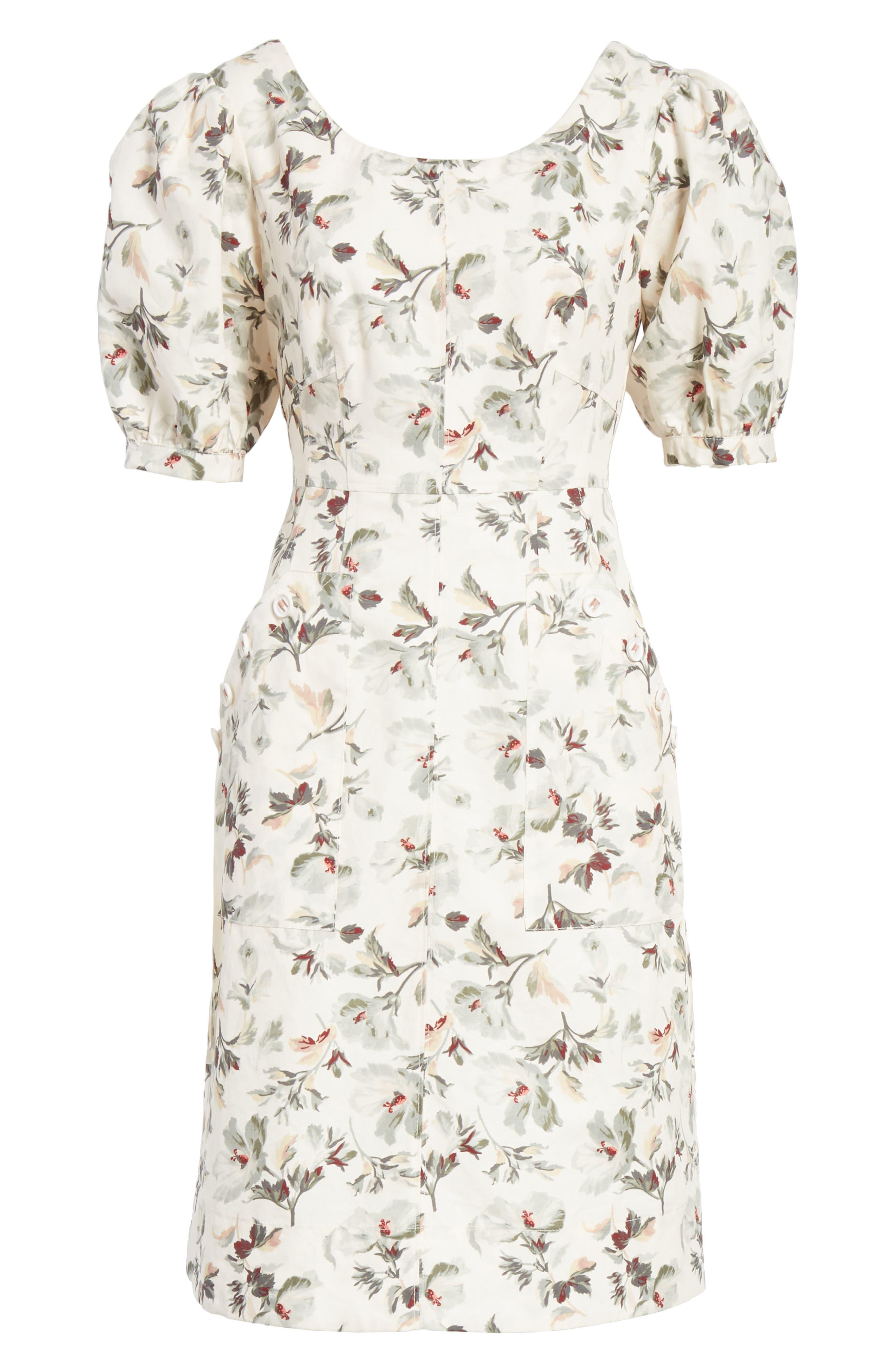 Puff Sleeve Floral Cotton Linen Dress,                             Alternate thumbnail 6, color,                             VANILLA COMBO
