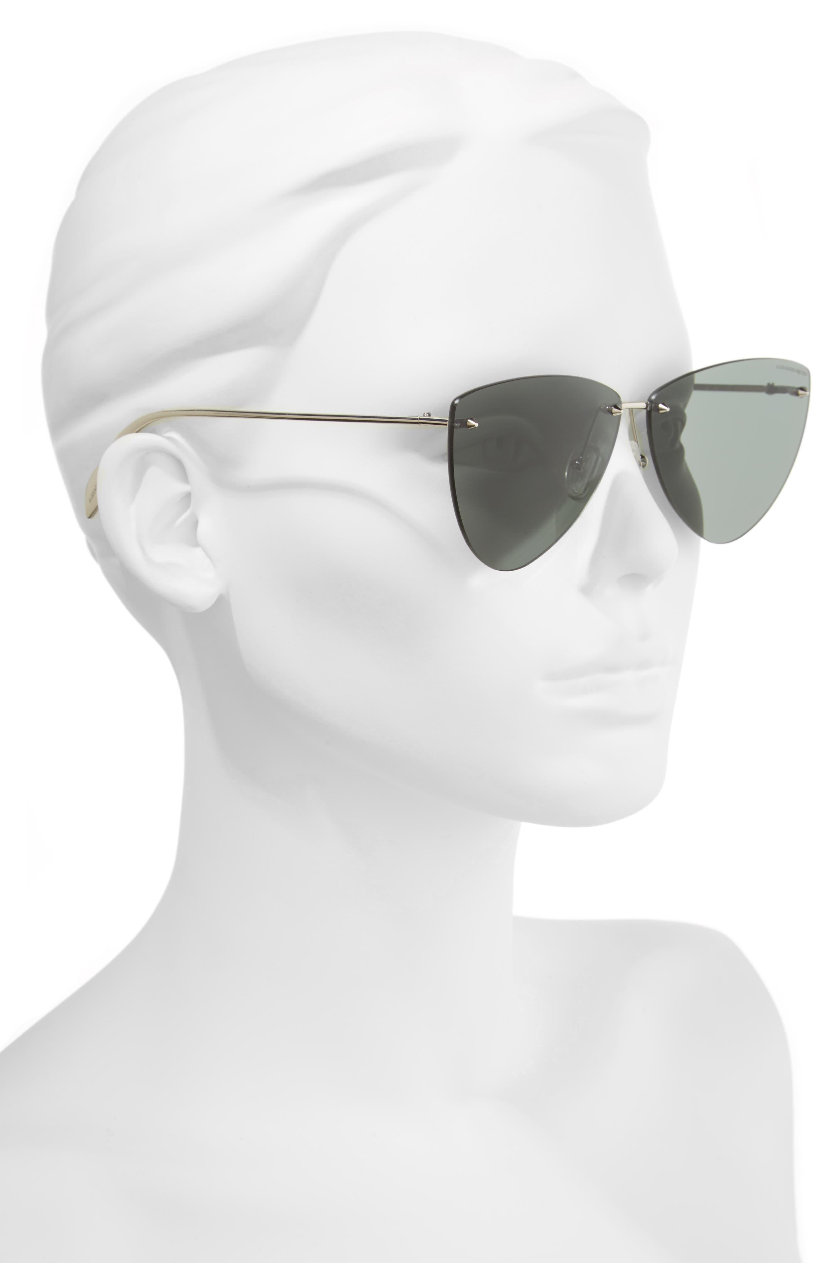 63mm Oversize Rimless Sunglasses,                             Alternate thumbnail 2, color,                             SILVER