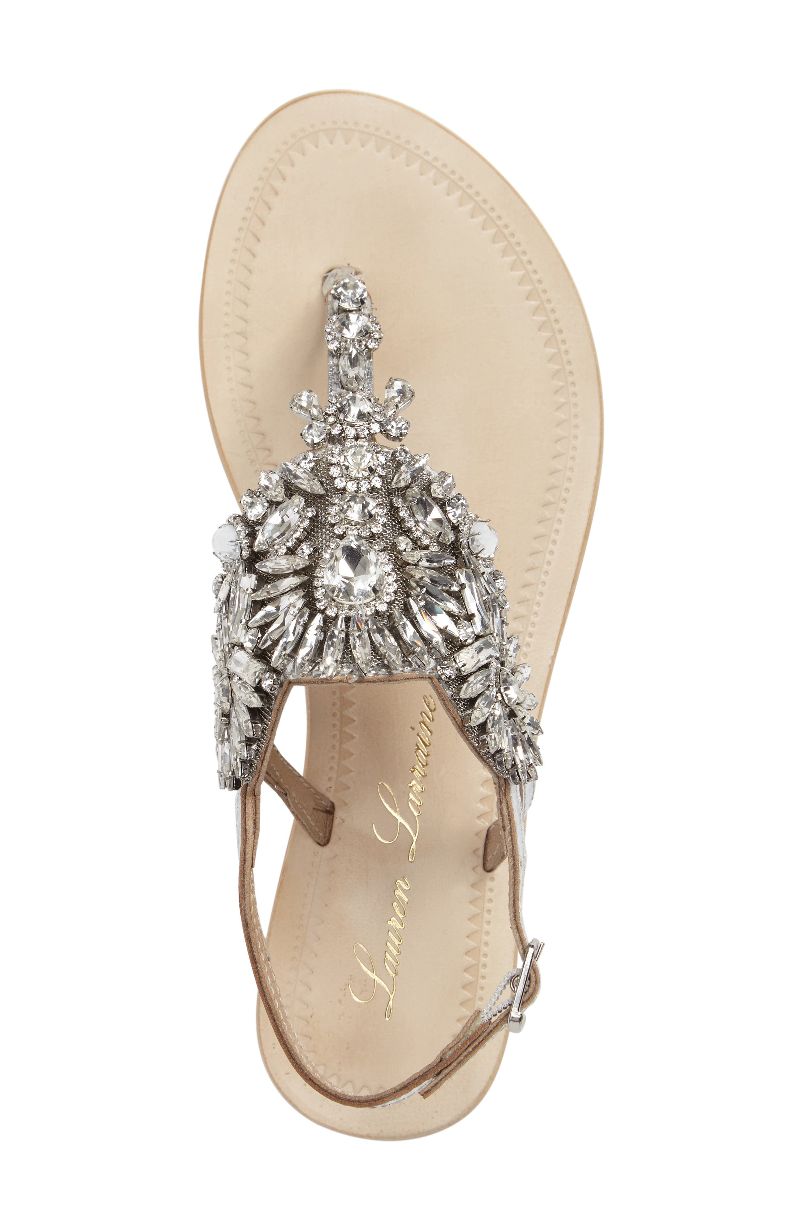 Vera Embellished Sandal,                             Alternate thumbnail 3, color,                             SILVER LEATHER