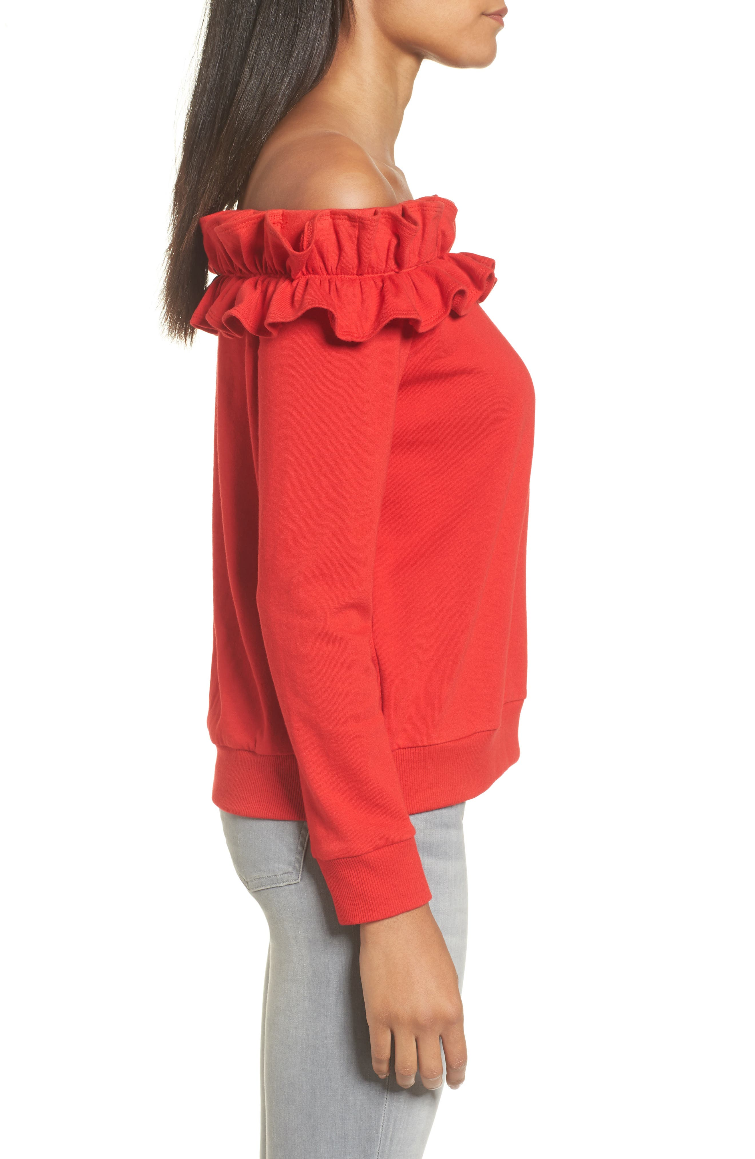 Ruffle Off the Shoulder Top,                             Alternate thumbnail 9, color,