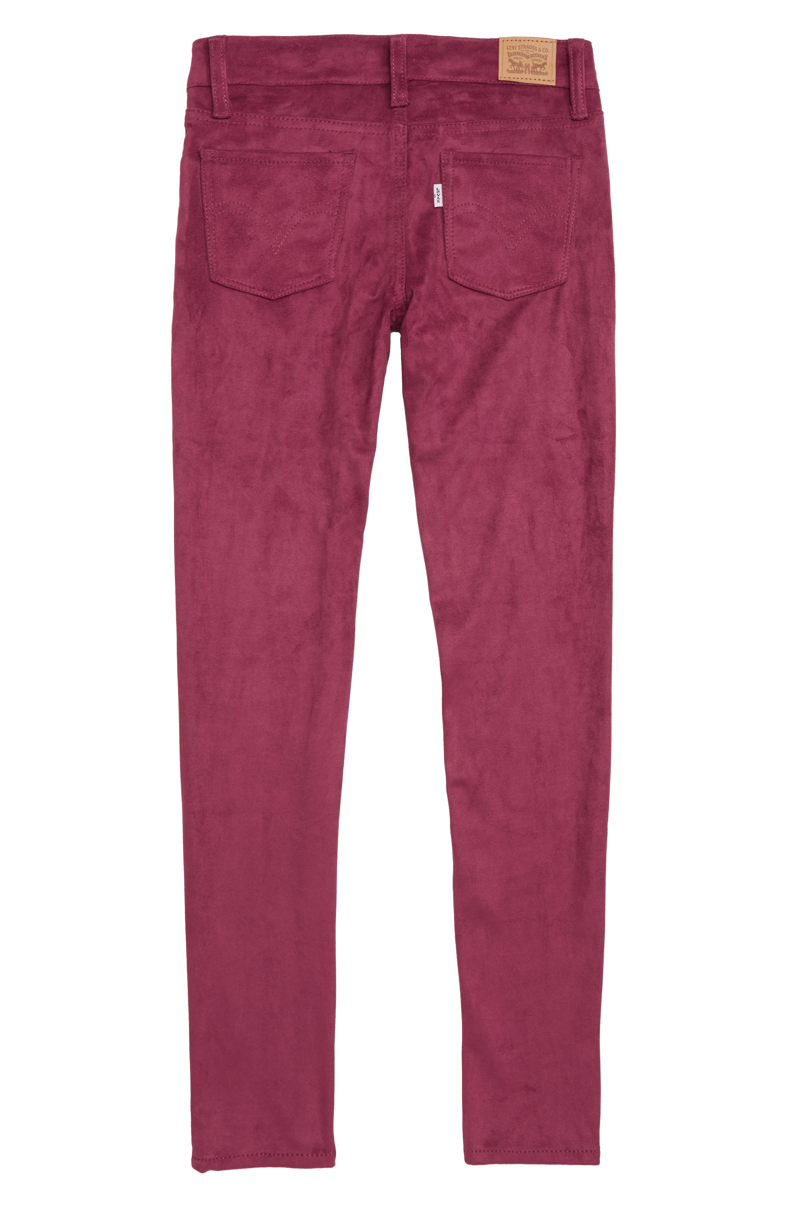 710<sup>™</sup> Super Skinny Faux Suede Jeans,                             Alternate thumbnail 2, color,                             BEET RED