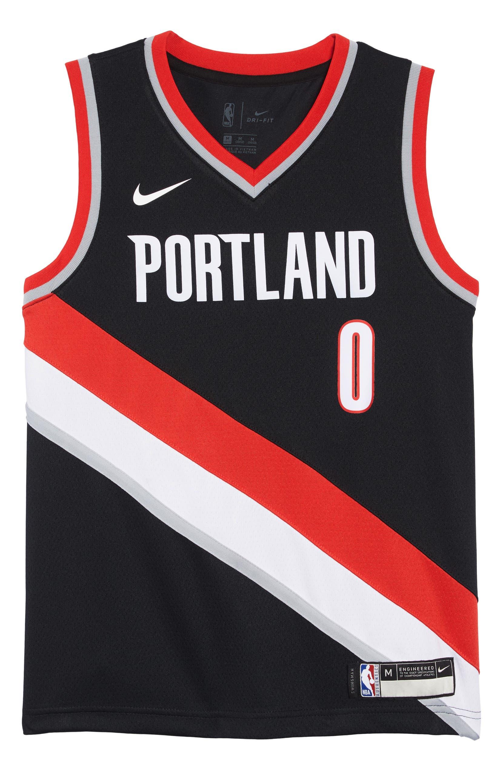 Nike Portland Trail Blazers Damian Lillard Basketball Jersey (Big Boys)  c8fc1bfeb32