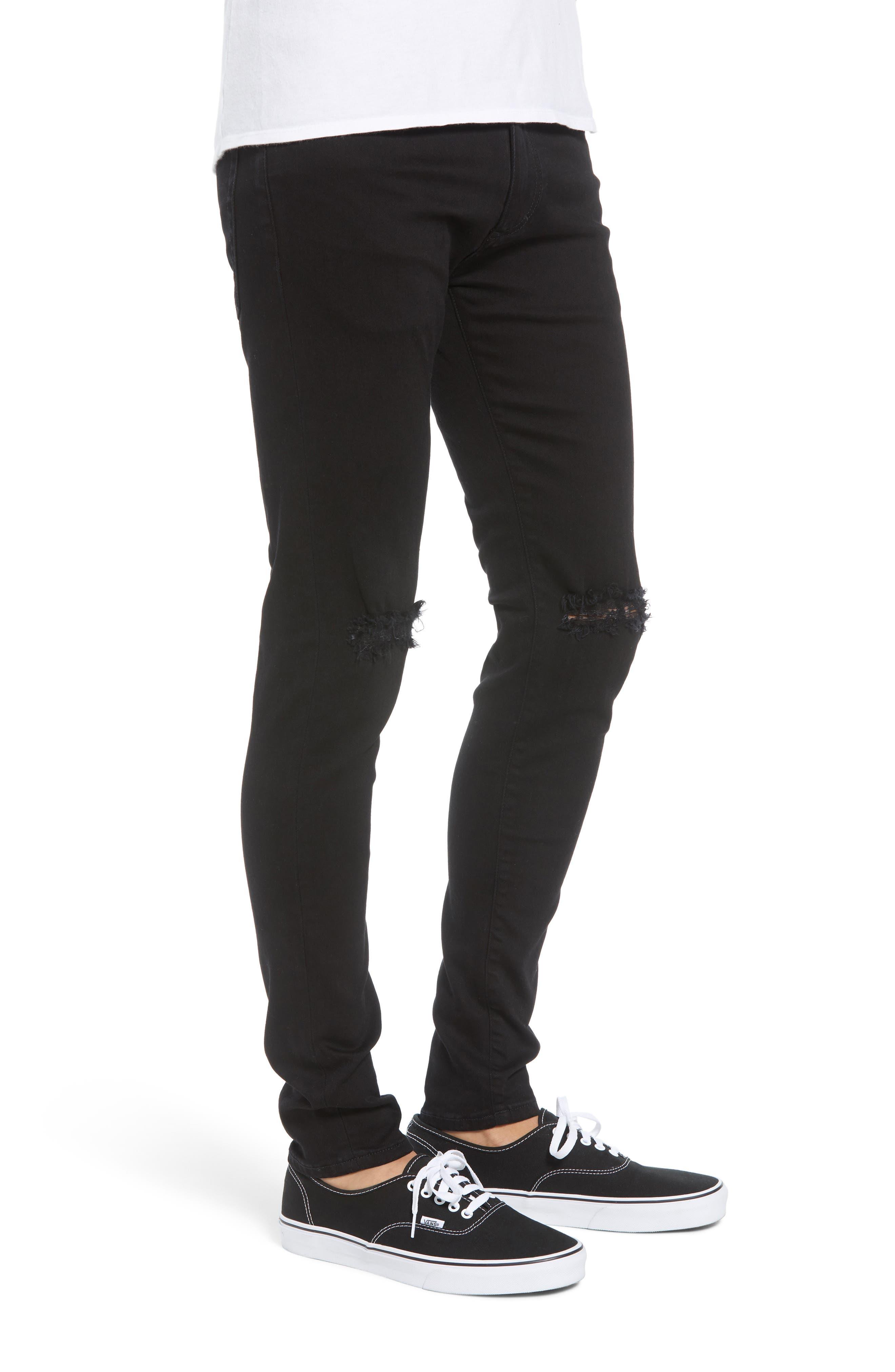 Destroyer Ripped Slim Fit Jeans,                             Alternate thumbnail 3, color,                             BLACK
