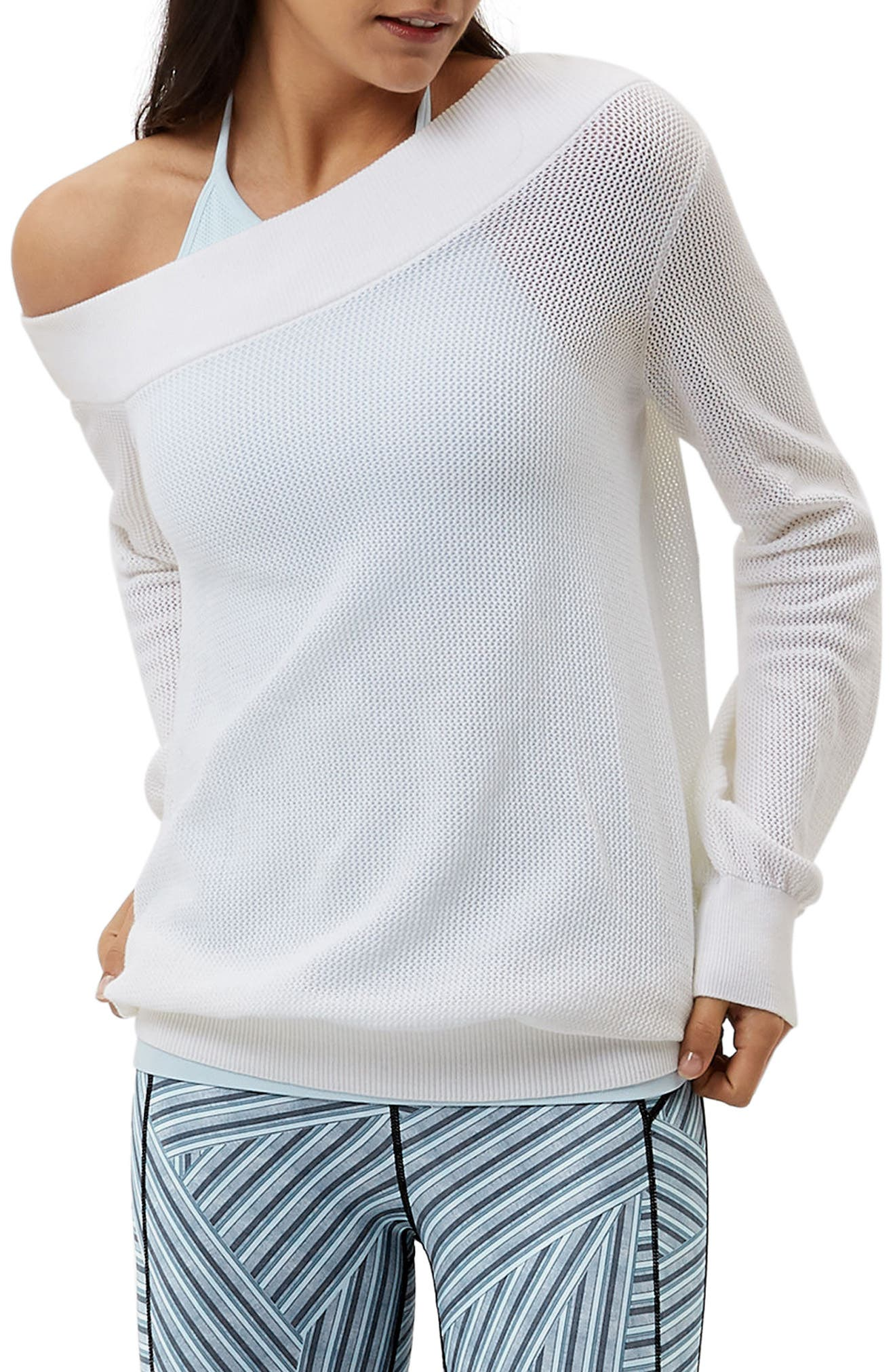 Sweat Betty Enliven One-Shoulder Sweater,                             Main thumbnail 1, color,                             WHITE