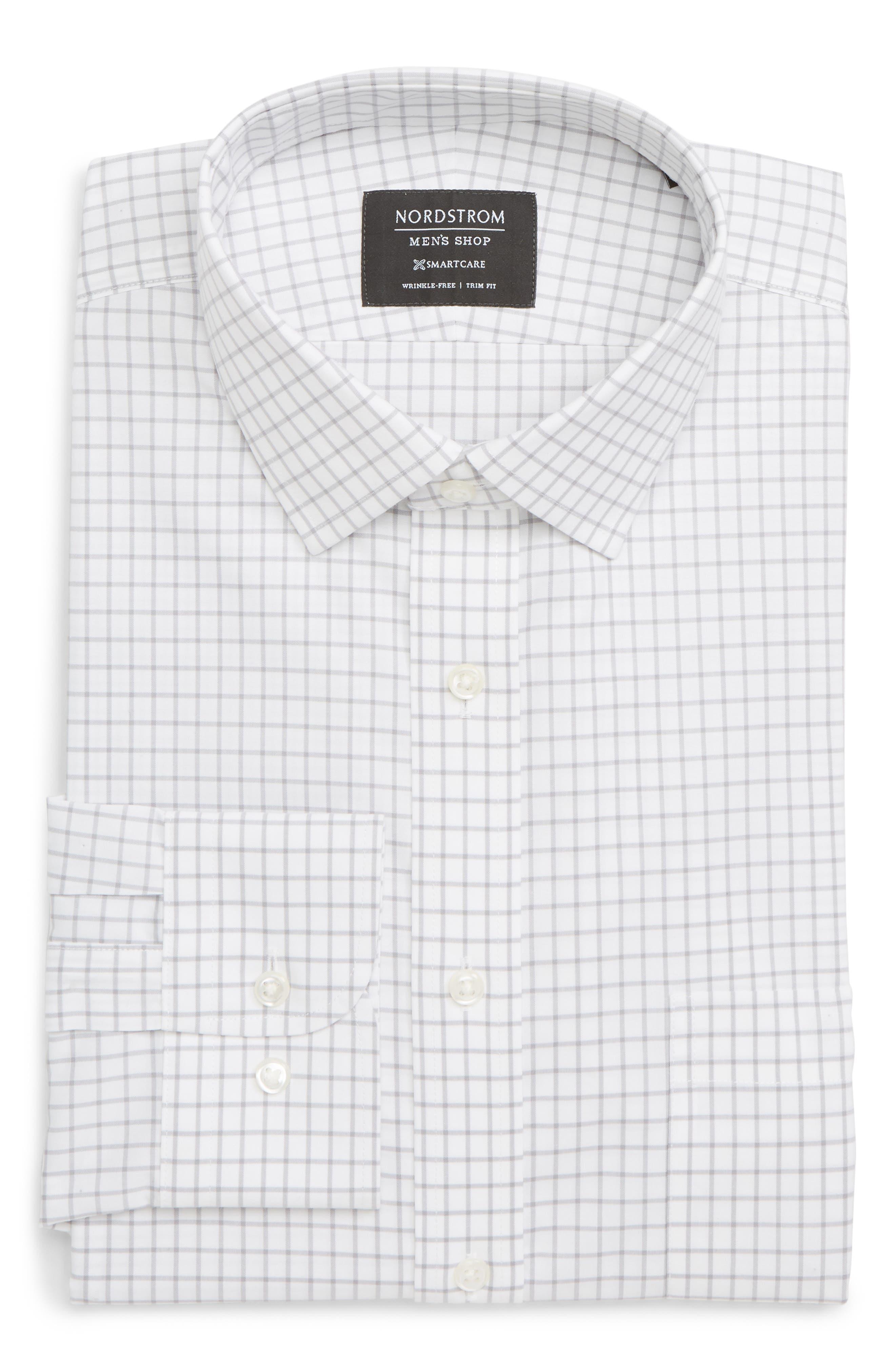 NORDSTROM MEN'S SHOP Smartcare<sup>™</sup> Trim Fit Check Dress Shirt, Main, color, GREY ALLOY