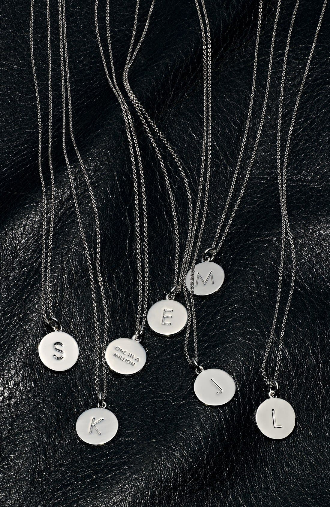 'one in a million' initial pendant necklace,                             Alternate thumbnail 5, color,                             SILVER K
