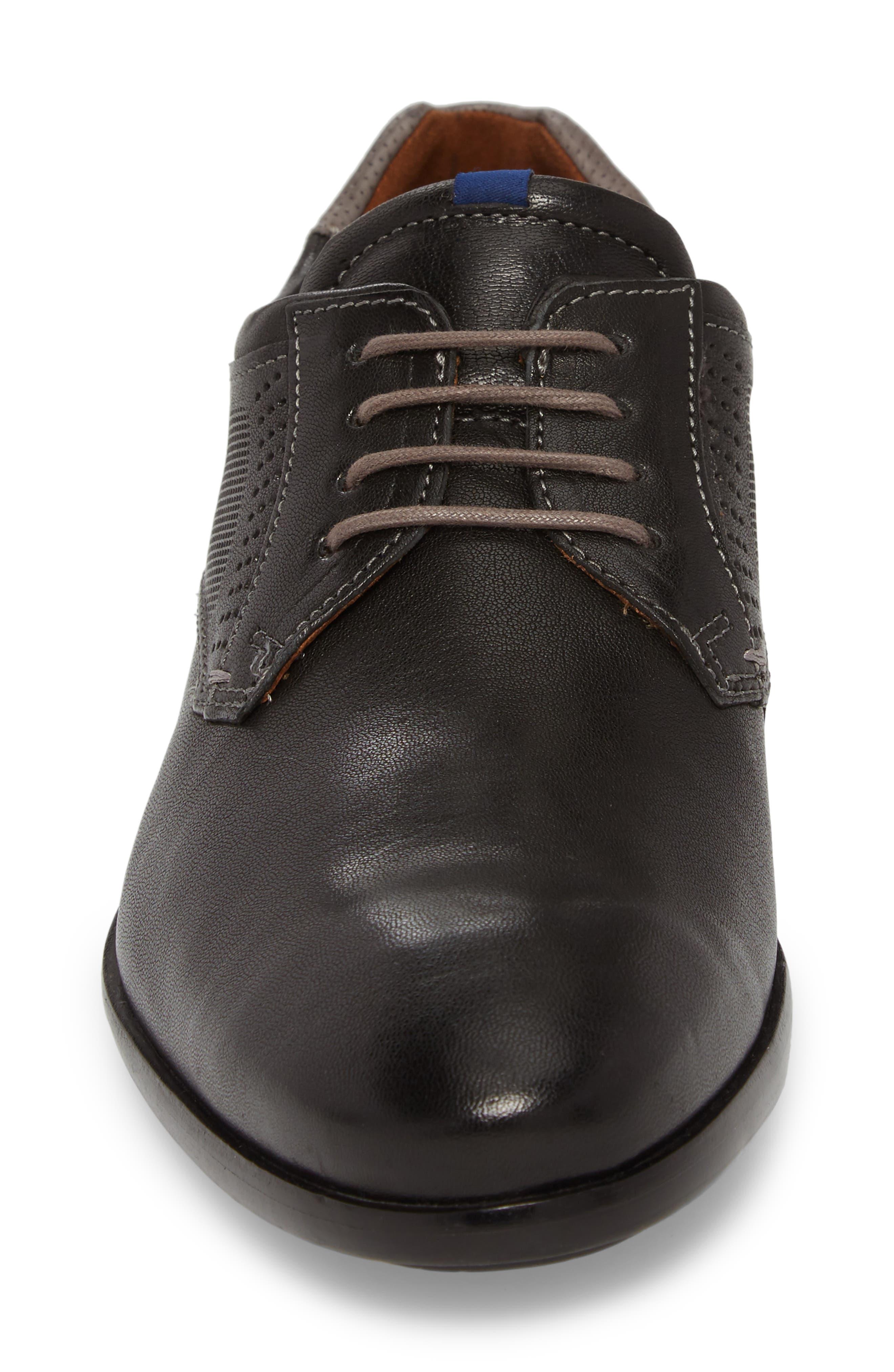 Morice Plain Toe Derby,                             Alternate thumbnail 4, color,                             BLACK/ GREY LEATHER