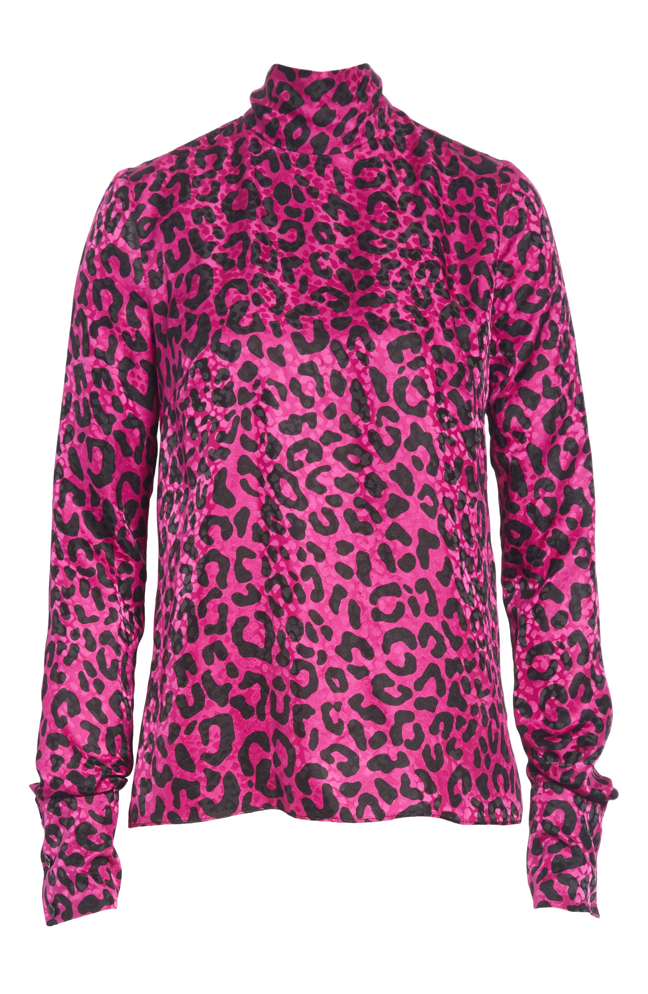 Leopard Print Silk Jacquard Top,                             Alternate thumbnail 6, color,                             673