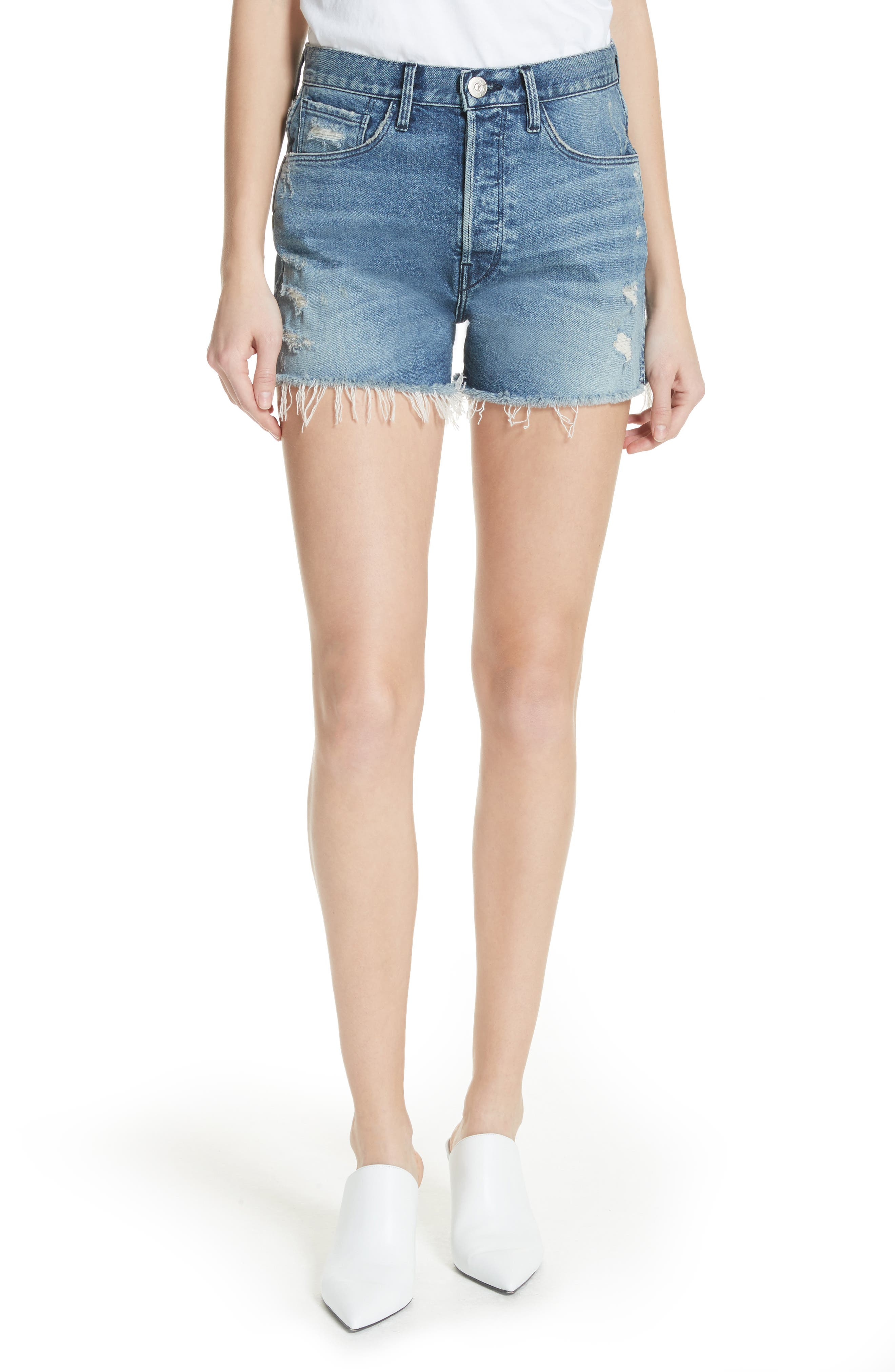 W4 Blake Raw Hem Denim Shorts,                         Main,                         color, CHANCE