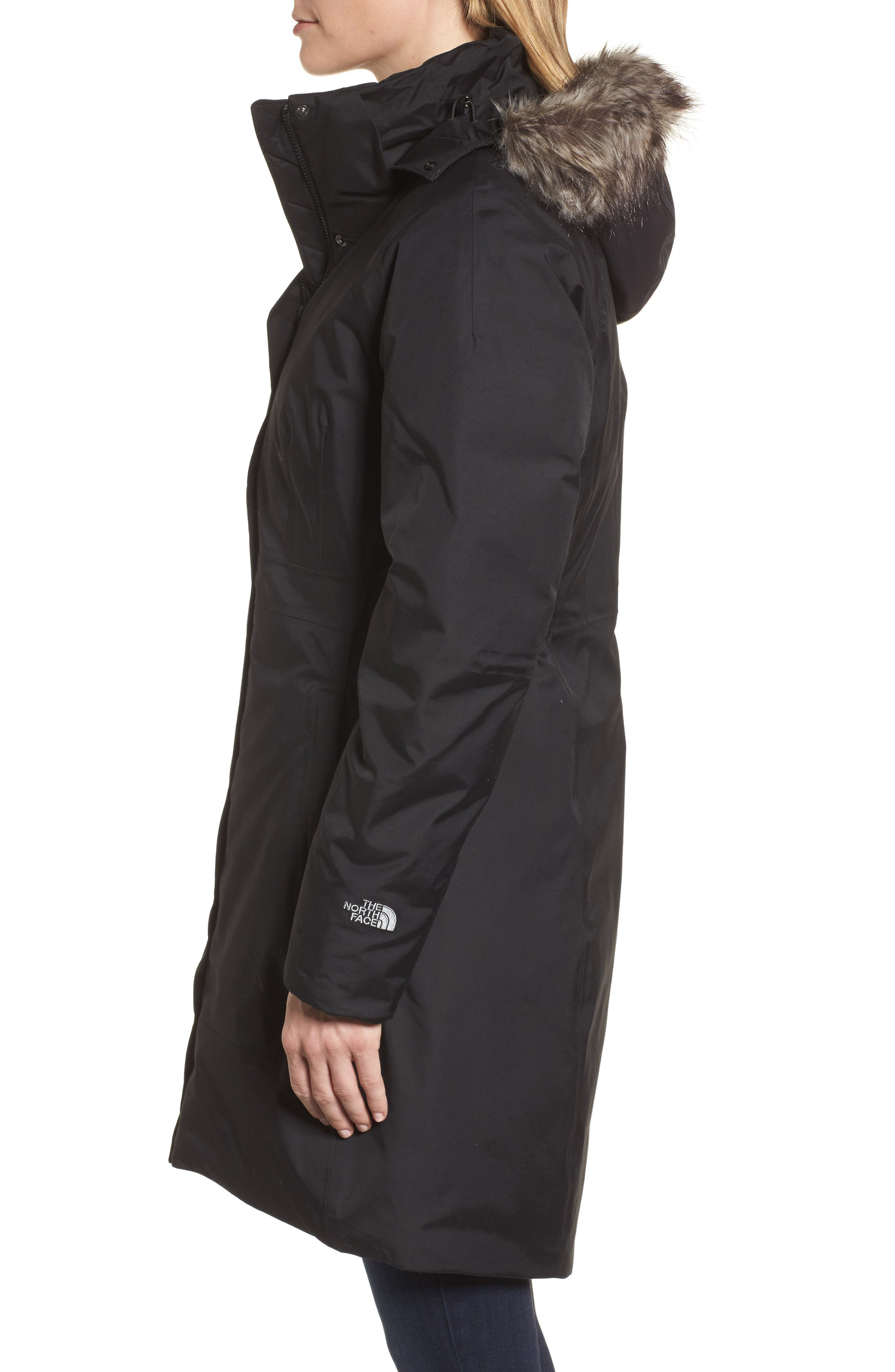 Arctic II Waterproof 550-Fill-Power Down Parka with Faux Fur Trim,                             Alternate thumbnail 3, color,                             TNF BLACK