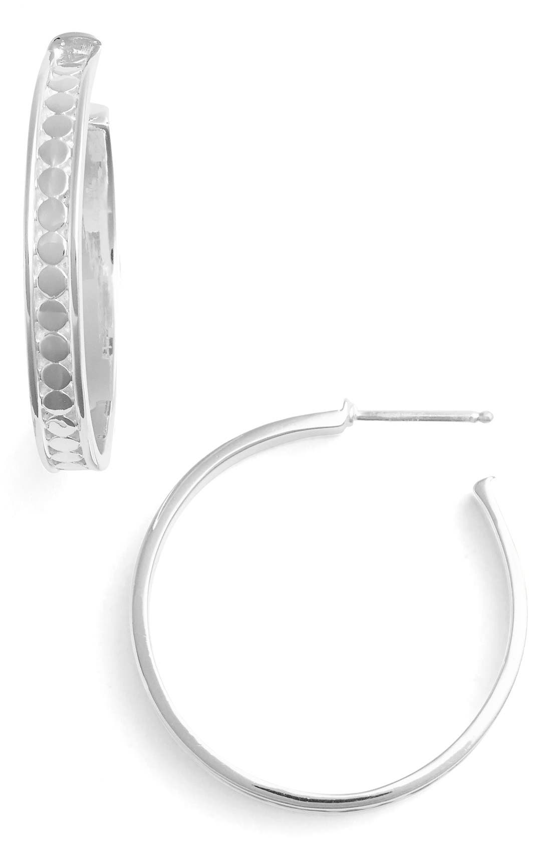 'Bali' Hoop Earrings,                         Main,                         color, STERLING SILVER