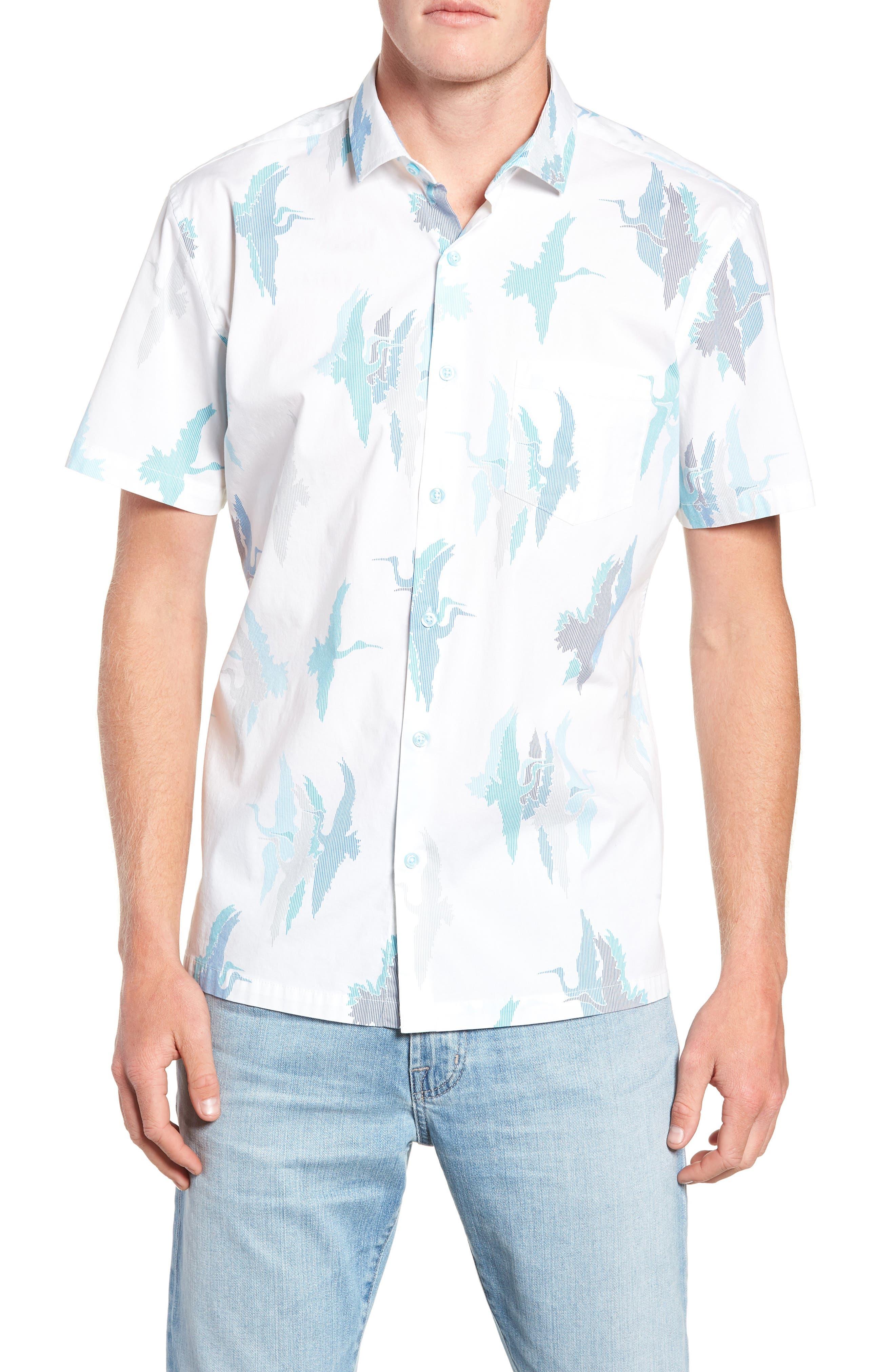 Tori Richard Shadow Crane Regular Fit Sport Shirt, White