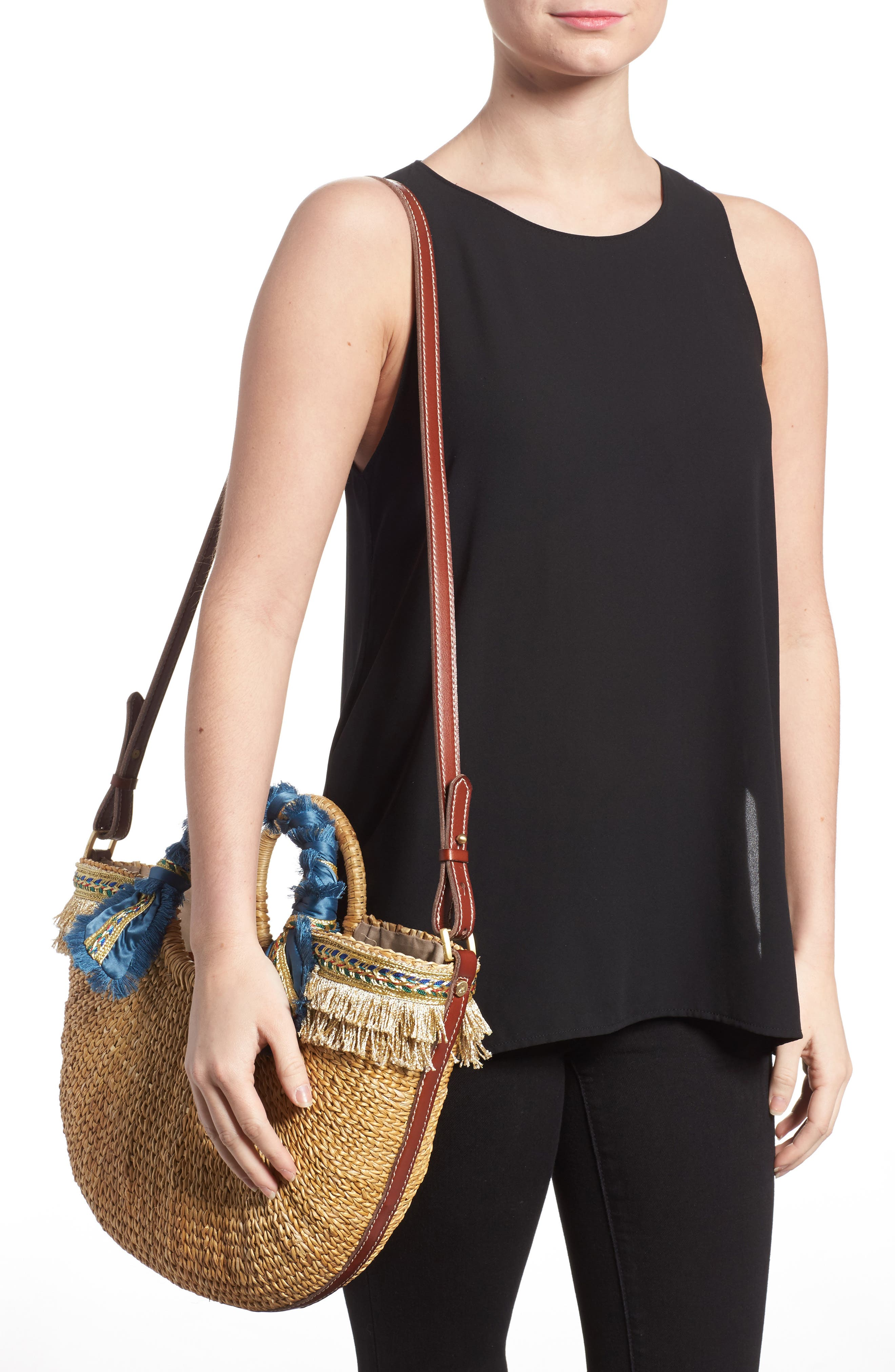 Metallic Fringed Straw Tote,                             Alternate thumbnail 2, color,                             250