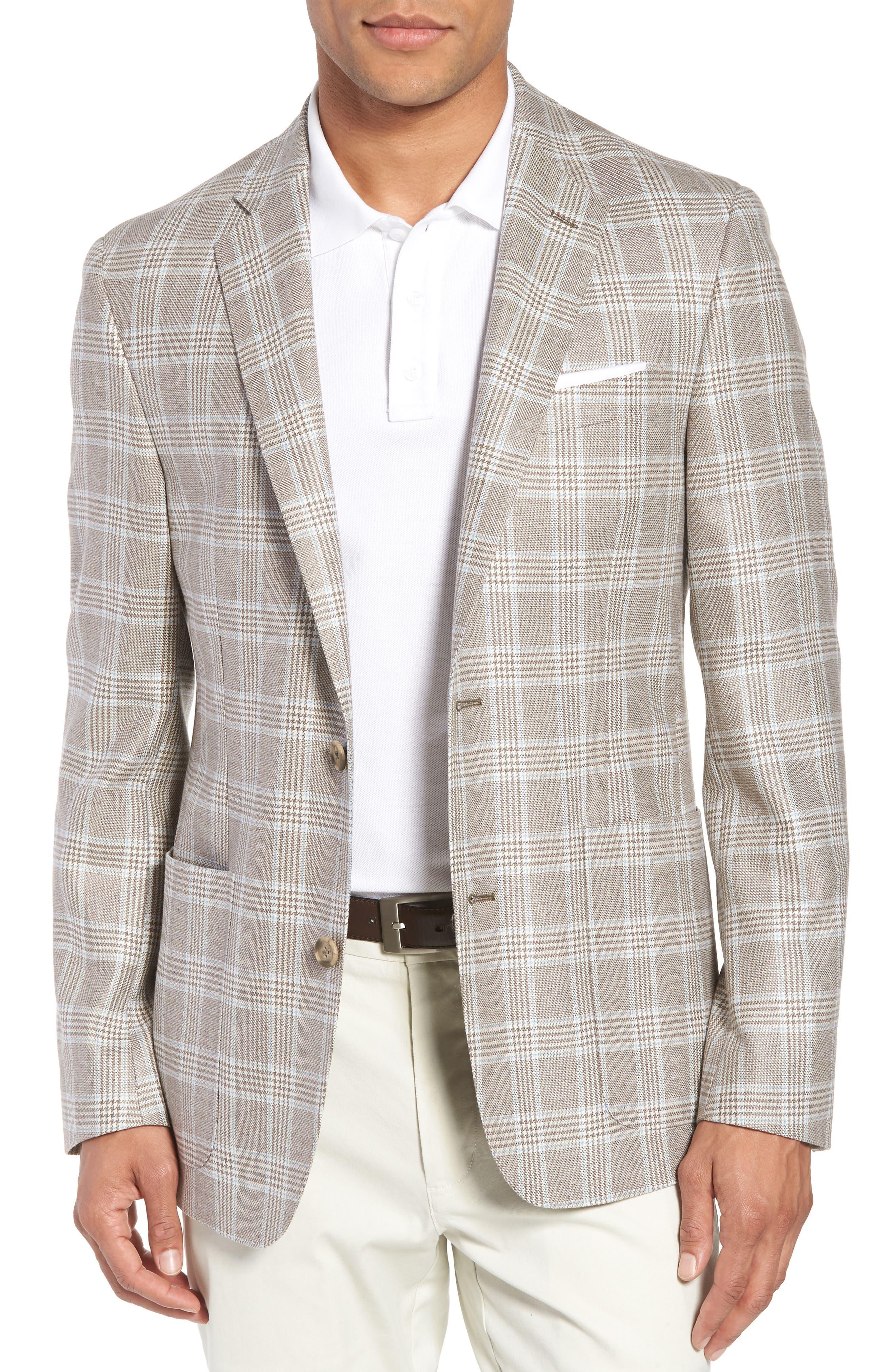 Trim Fit Plaid Silk & Wool Sport Coat,                         Main,                         color, 235