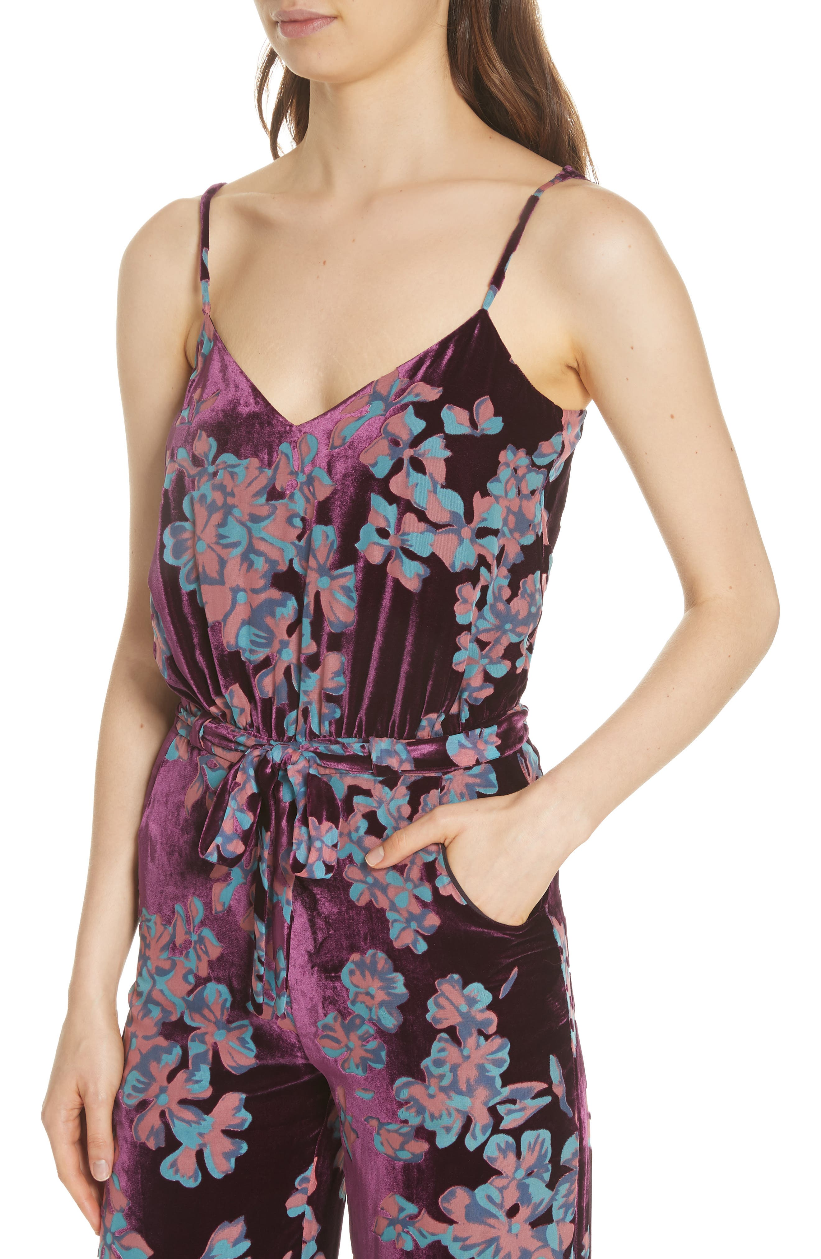 Loretta Floral & Stripe Print Jumpsuit,                             Alternate thumbnail 4, color,                             PLUM INSIGNIA 689