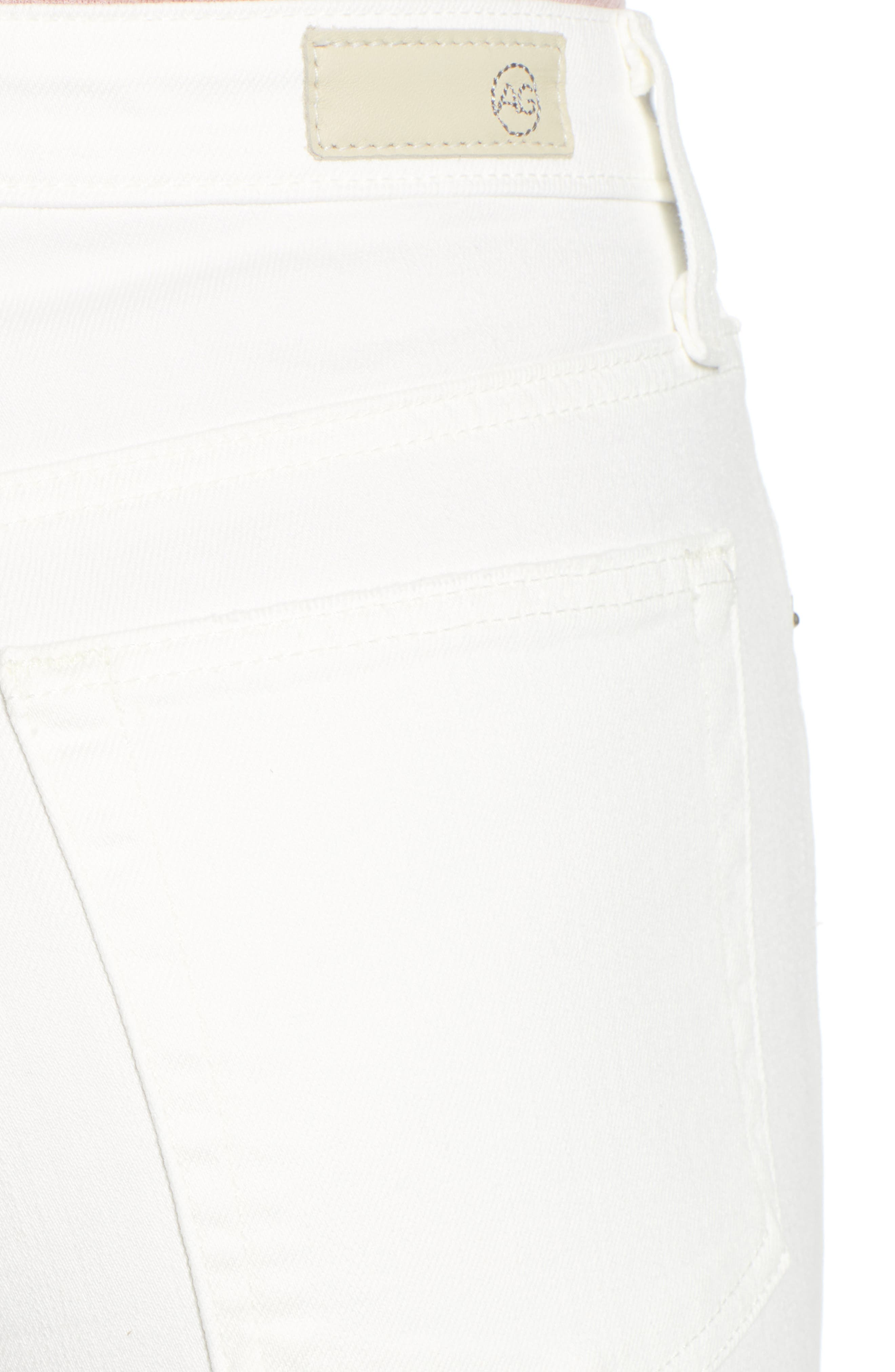 AG,                             The Isabelle High Waist Crop Straight Leg Jeans,                             Alternate thumbnail 4, color,                             01 YEAR TONAL WHITE