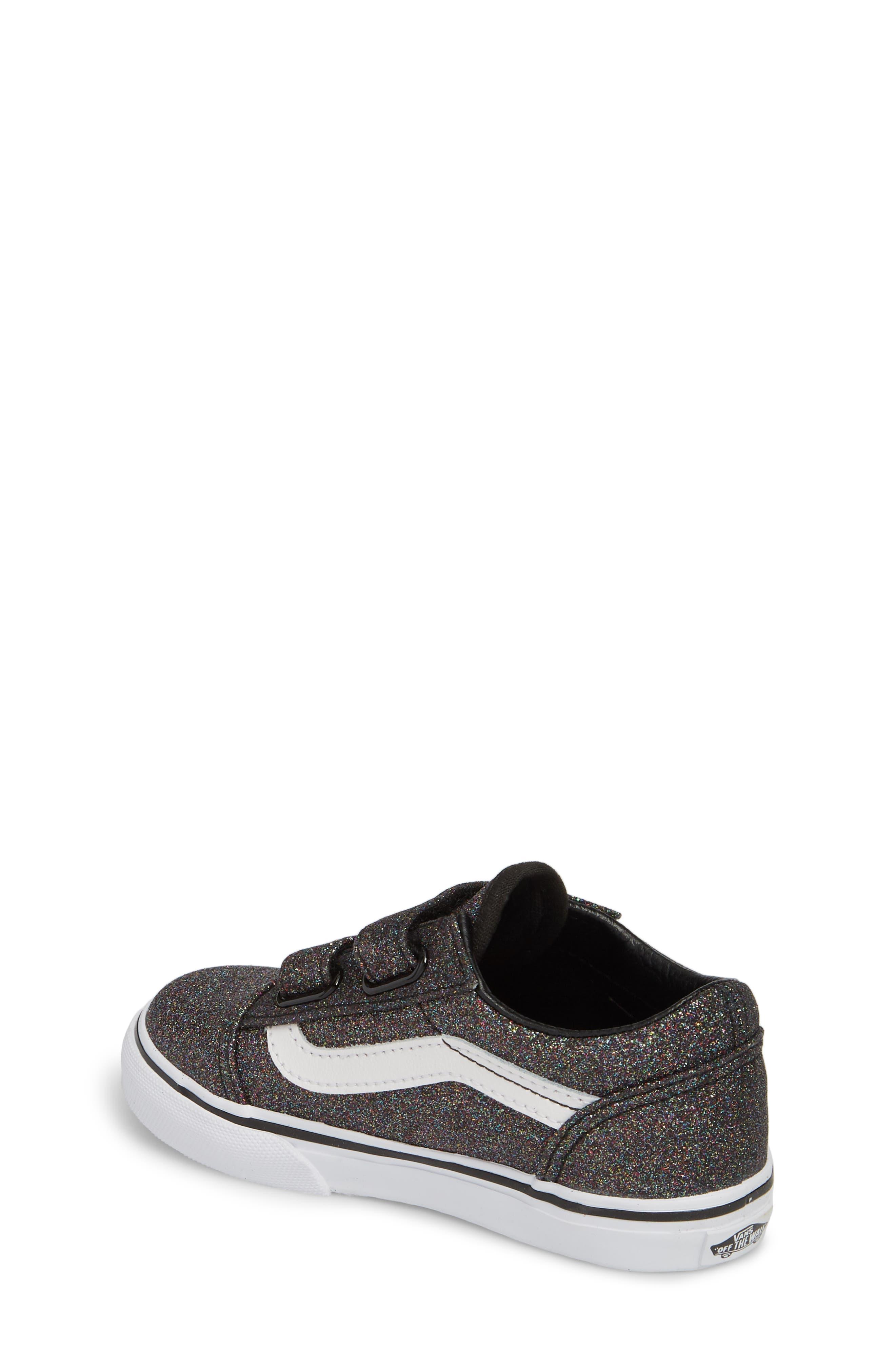 Old Skool V Glitter Sneaker,                             Alternate thumbnail 2, color,                             001