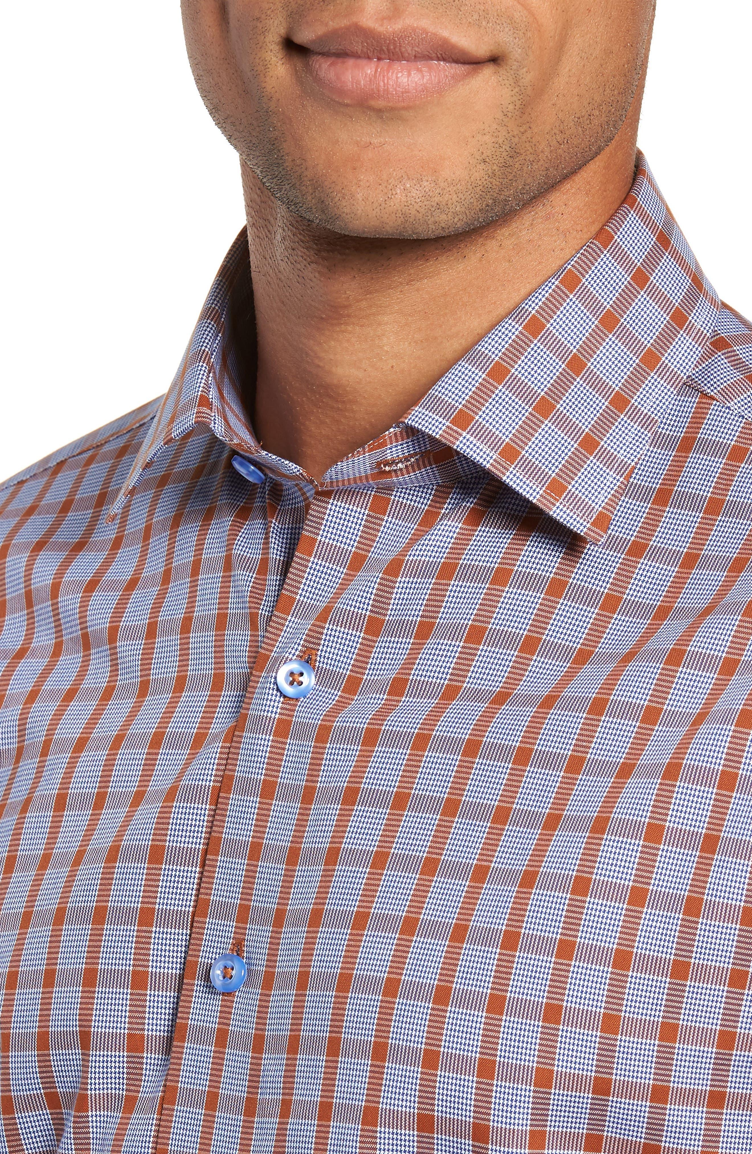 Trim Fit Plaid Dress Shirt,                             Alternate thumbnail 2, color,                             430